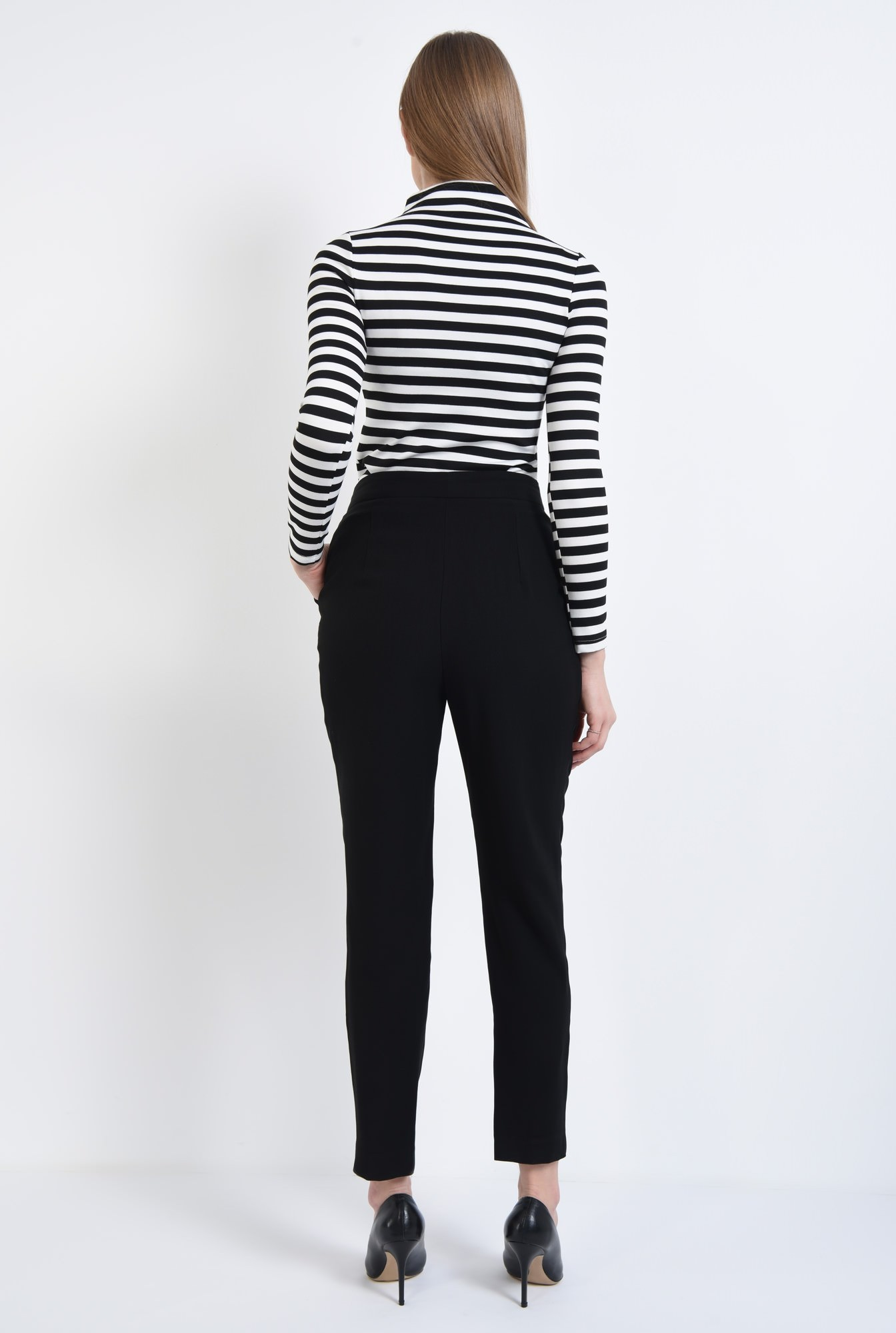 1 - Bluza casual, dungi, alb-negru
