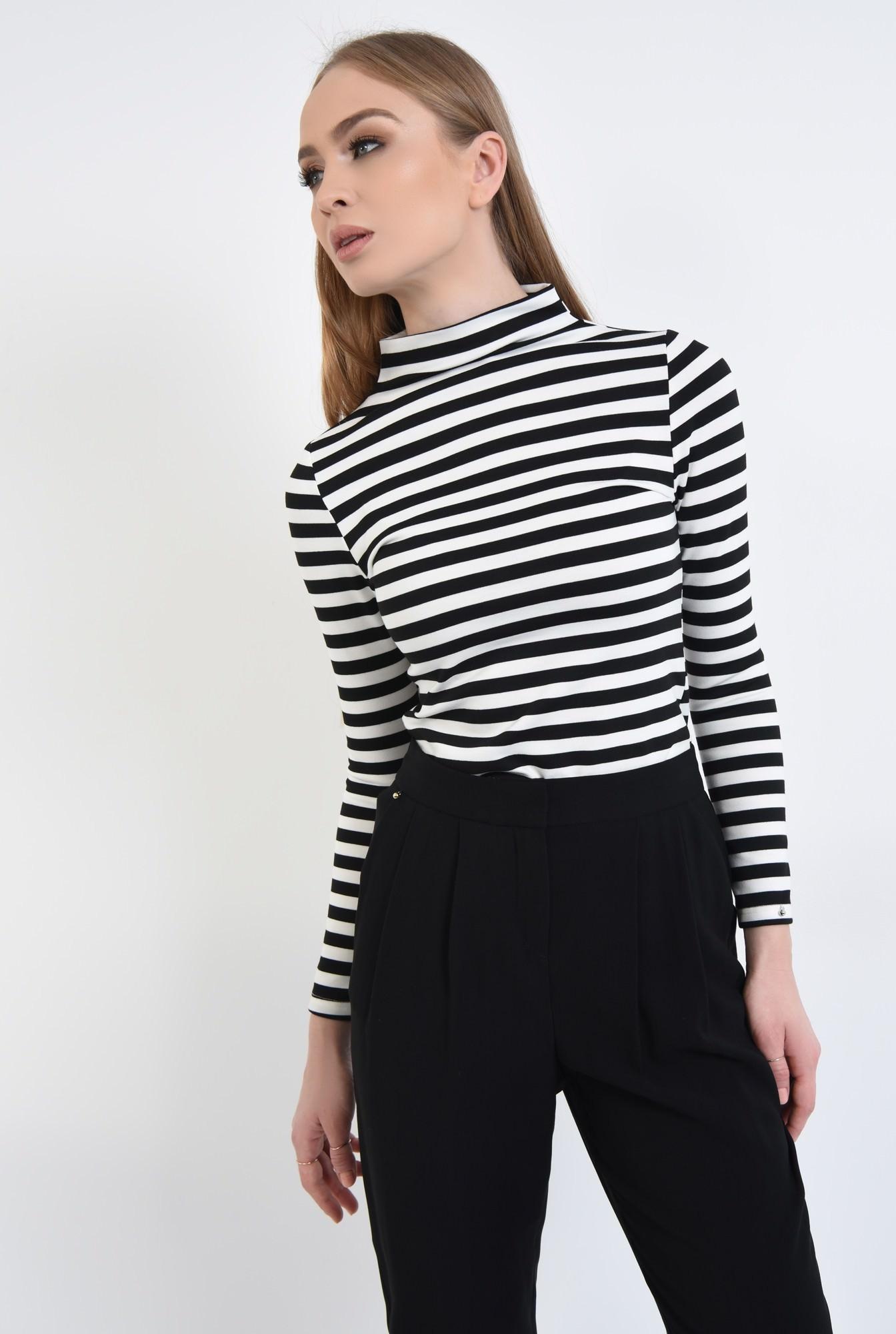 2 - Bluza casual, dungi, alb-negru