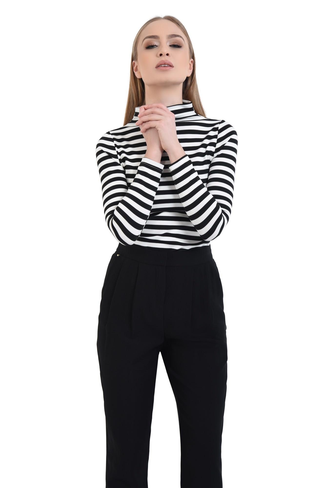 0 - Bluza casual, dungi, alb-negru