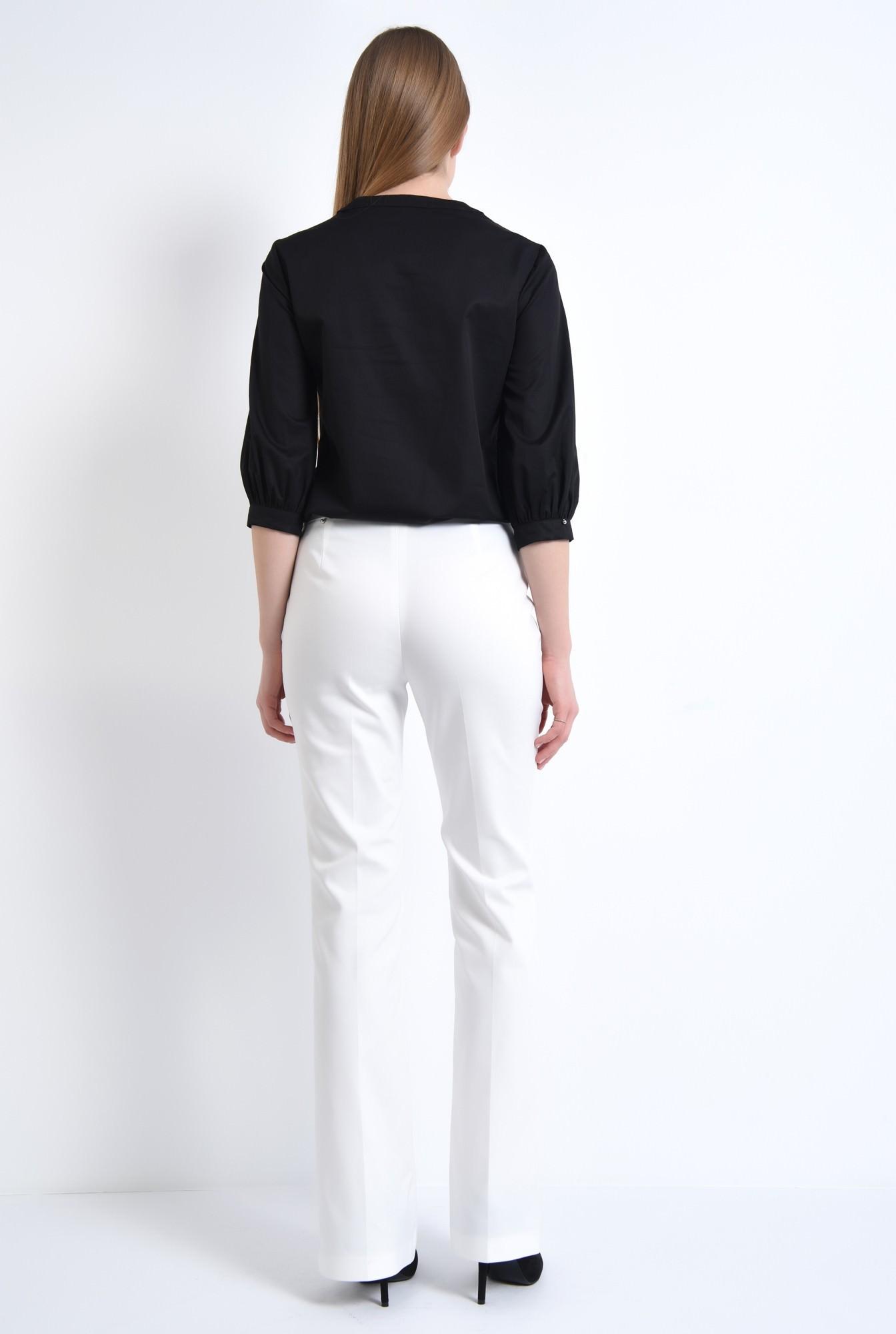 1 - Bluza casual, negru, bumbac, maneci midi