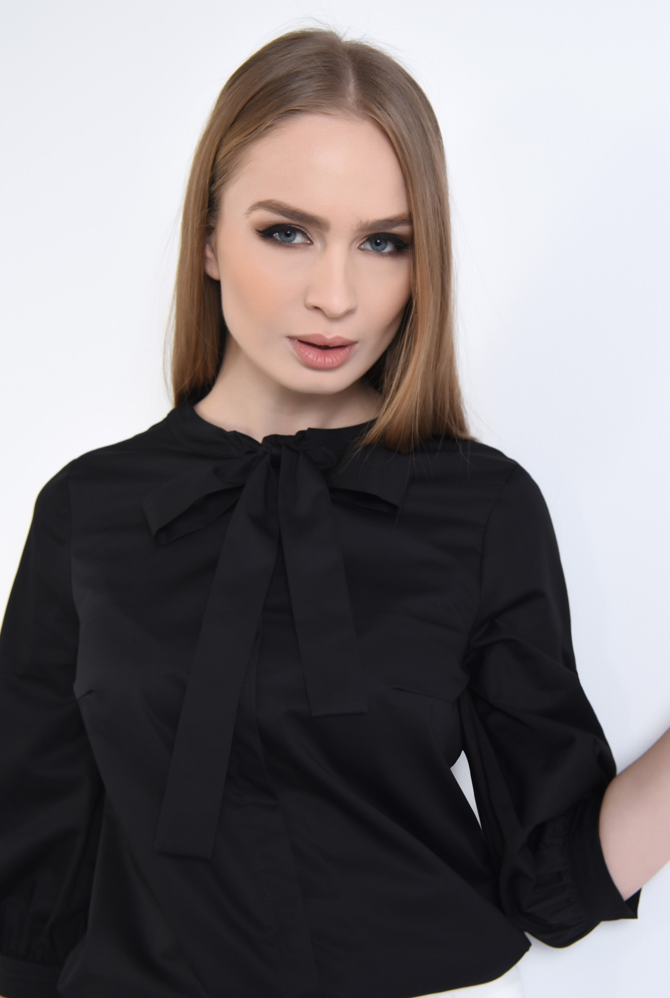 2 - Bluza casual, negru, bumbac, maneci midi