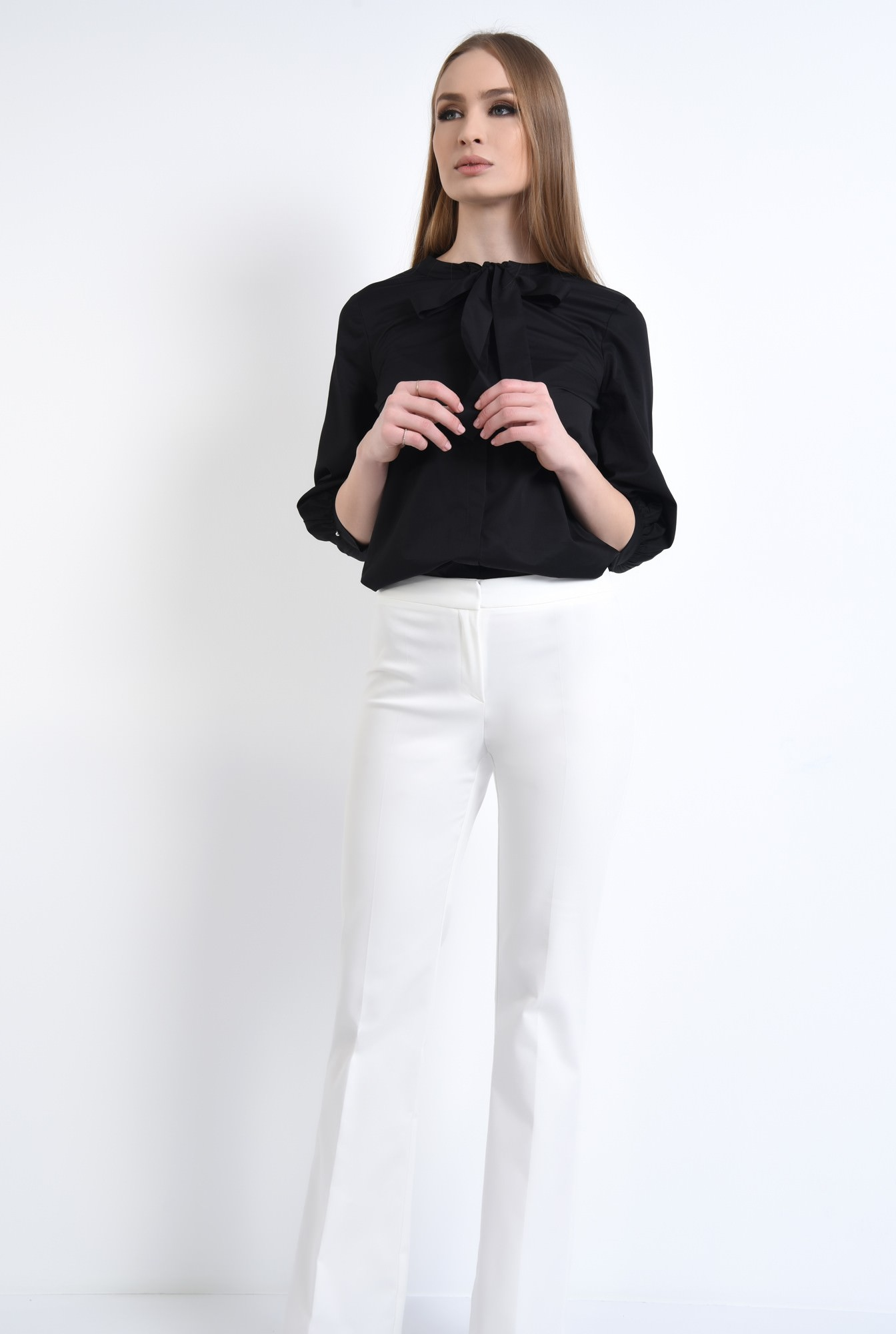 3 - Bluza casual, negru, bumbac, maneci midi