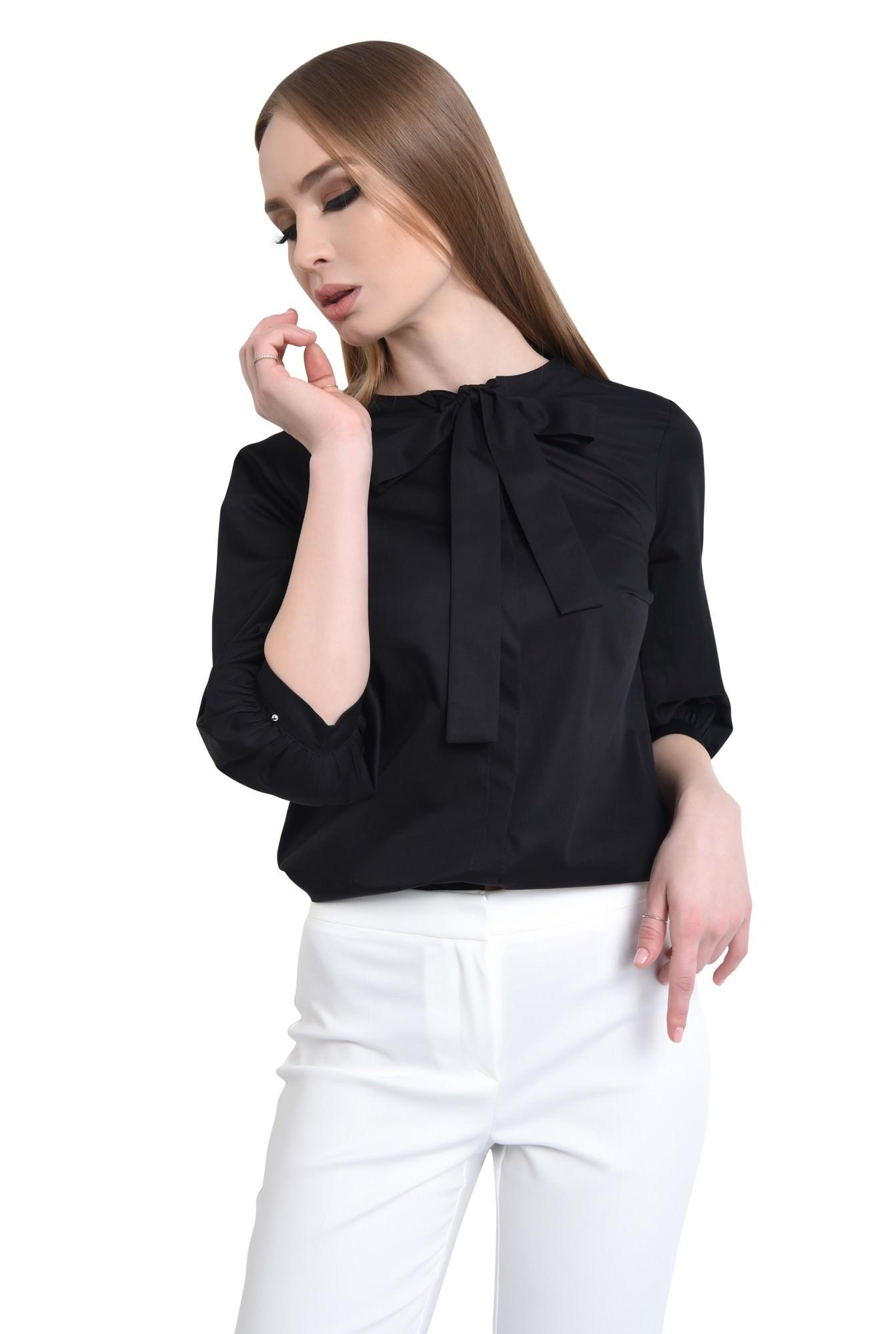 0 - Bluza casual, negru, bumbac, maneci midi