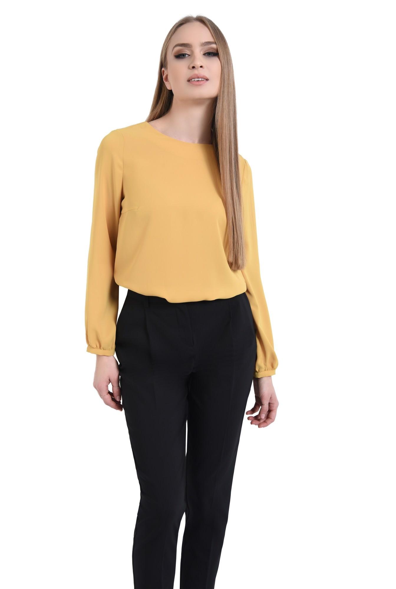 0 - Bluza casual, mustar, maneci lungi
