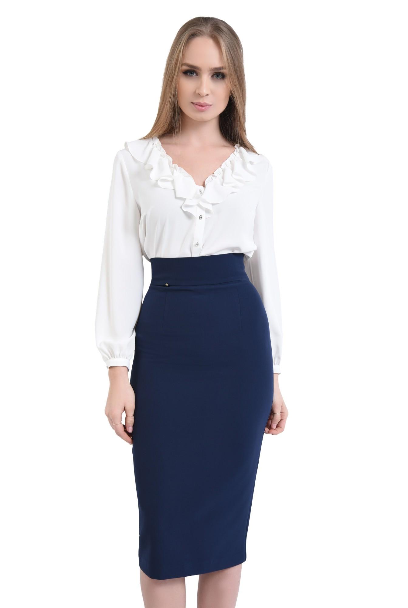 0 - Bluza casual, alb, decolteu anchior