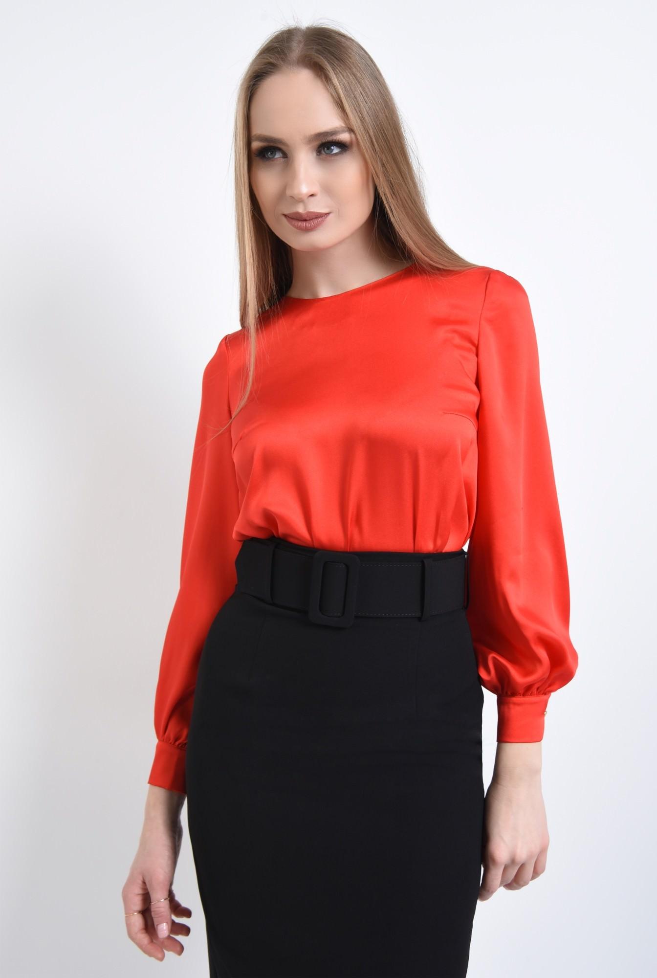 2 - Bluza eleganta, rosu, satin