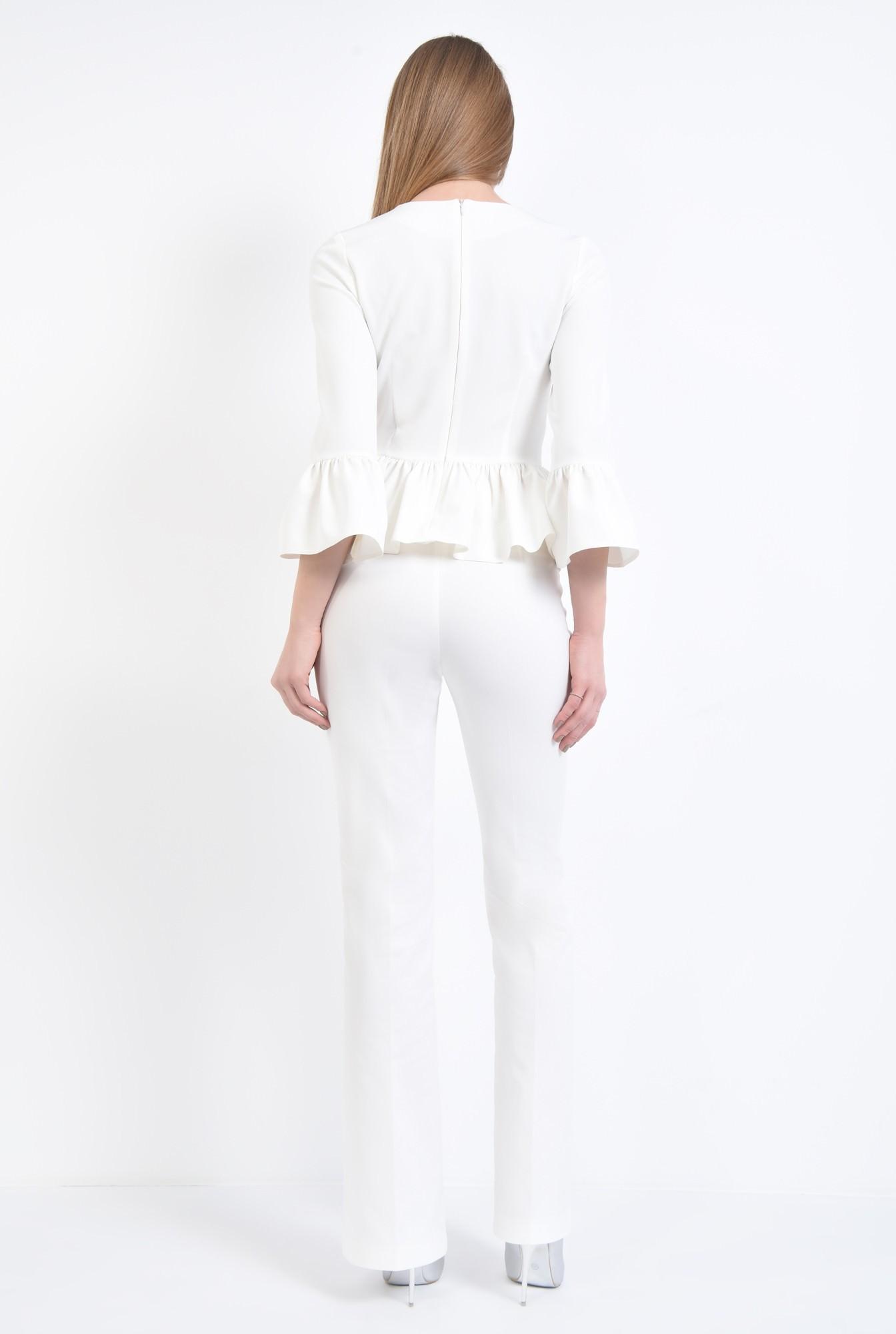 1 - Bluza eleganta, cu volane, tesatura elastica, decolteu rotund la baza gatului