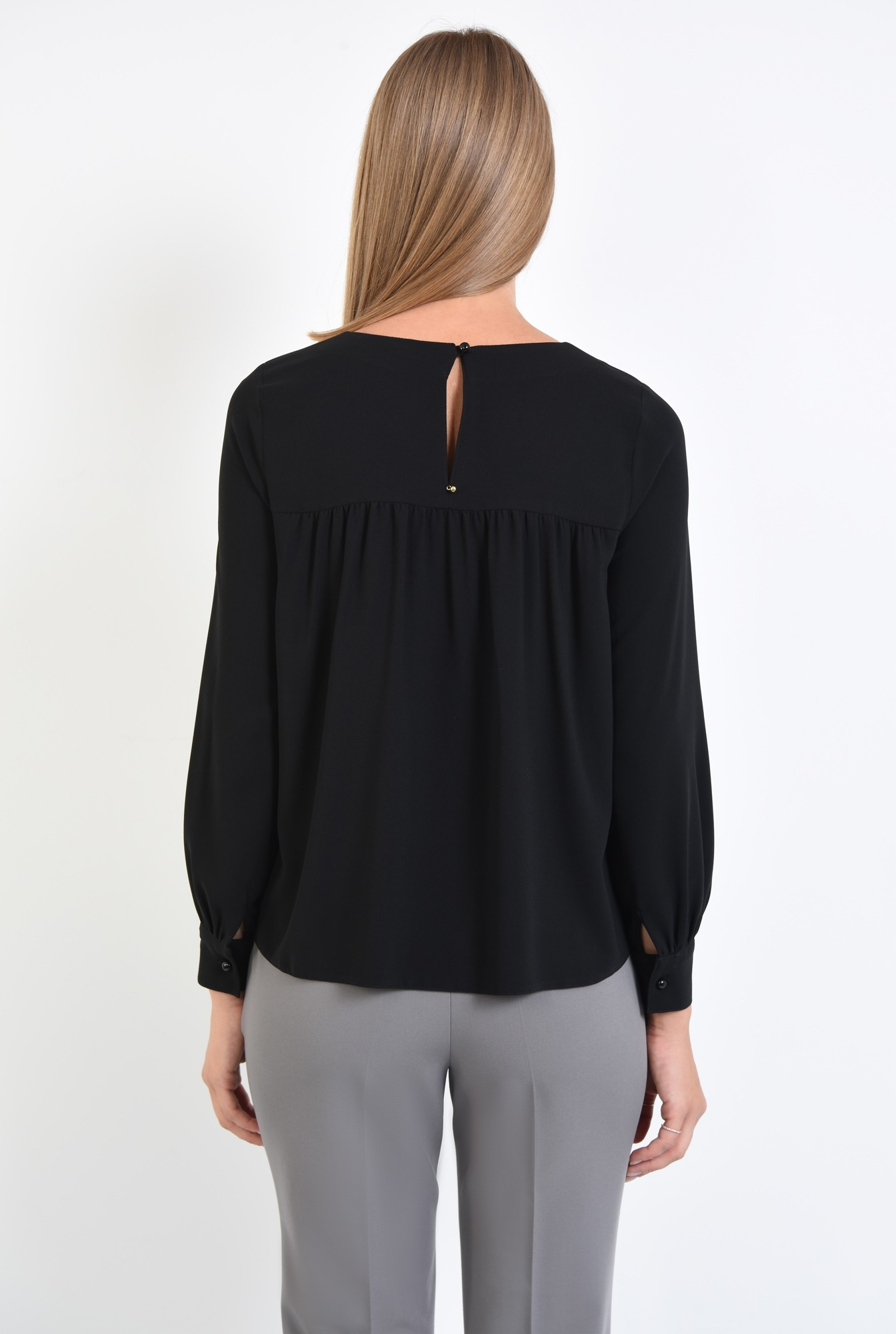 1 - Bluza casual, negru, croi lejer, funda la gat