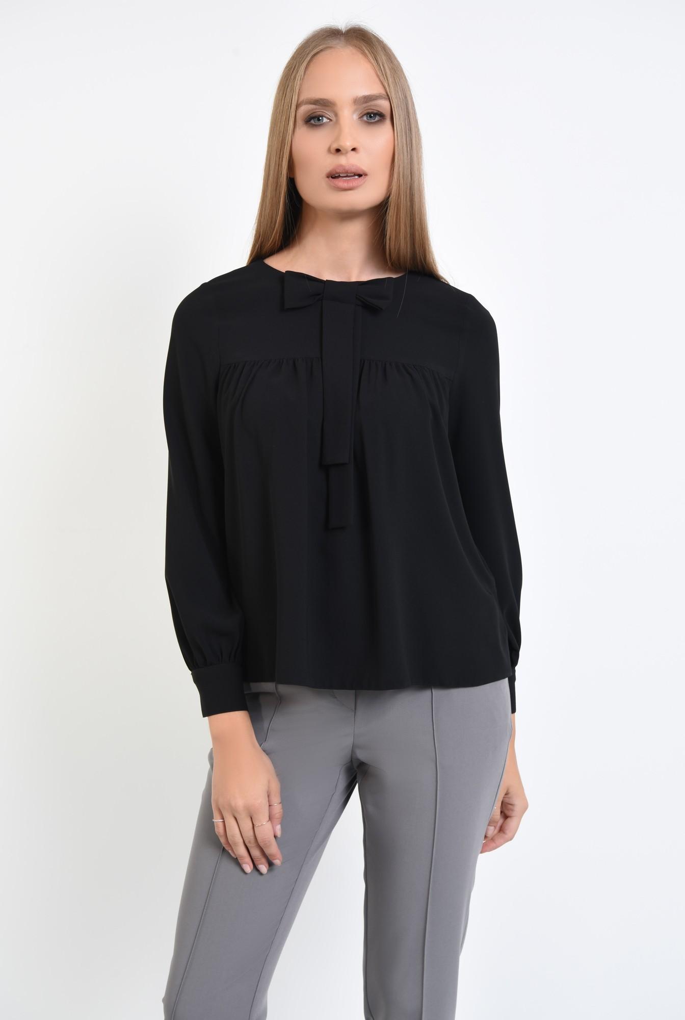 2 - Bluza casual, negru, croi lejer, funda la gat