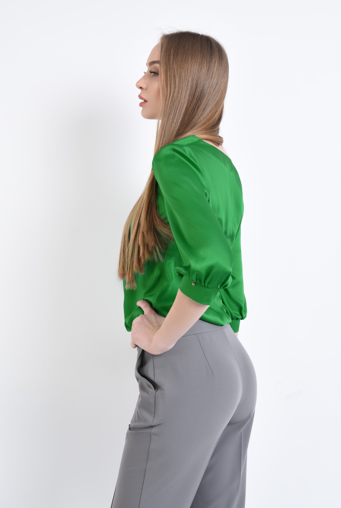 1 - Bluza eleganta, verde, satin