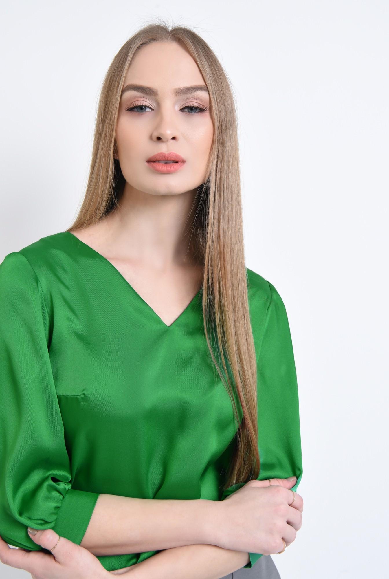 2 - Bluza eleganta, verde, satin
