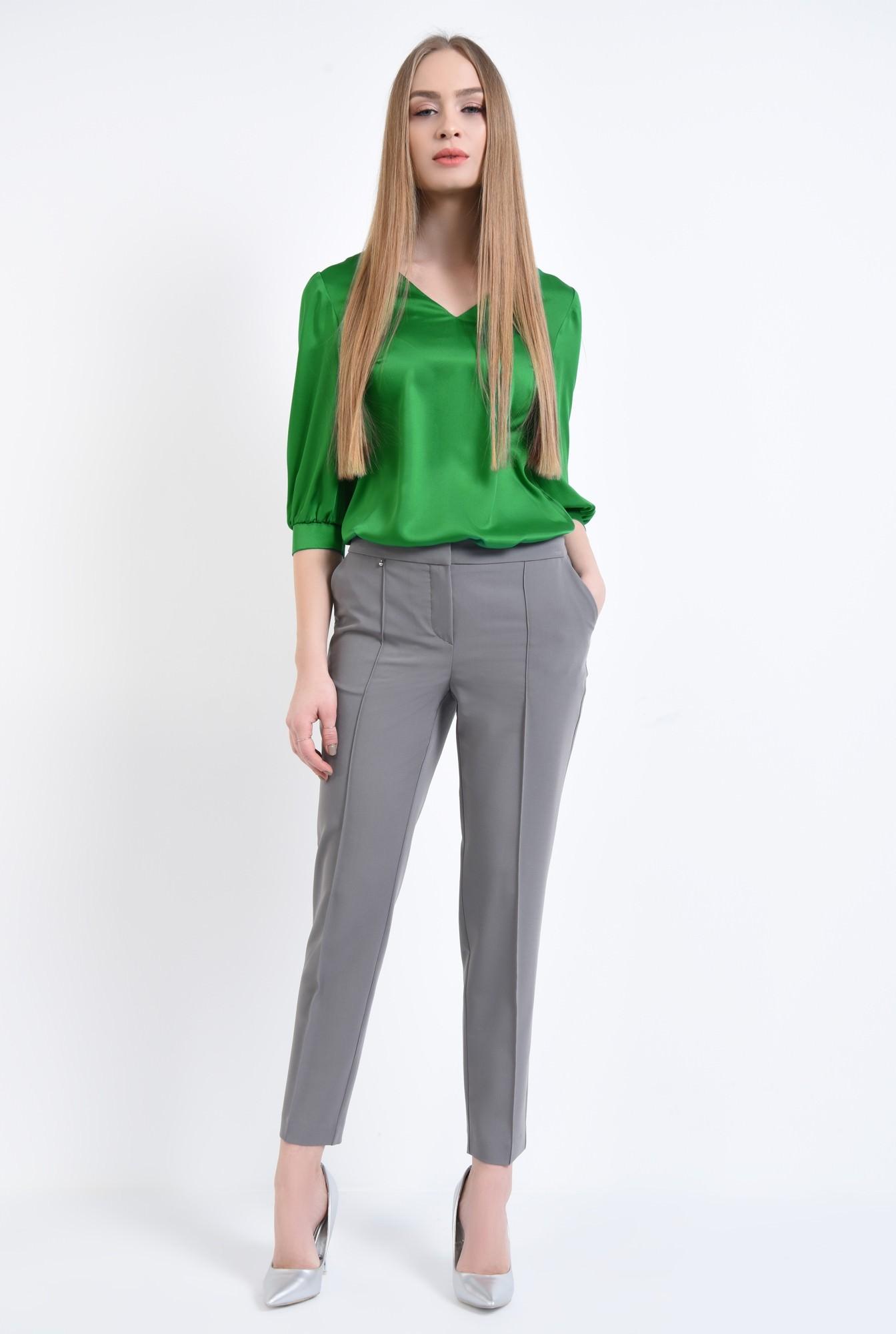 3 - Bluza eleganta, verde, satin