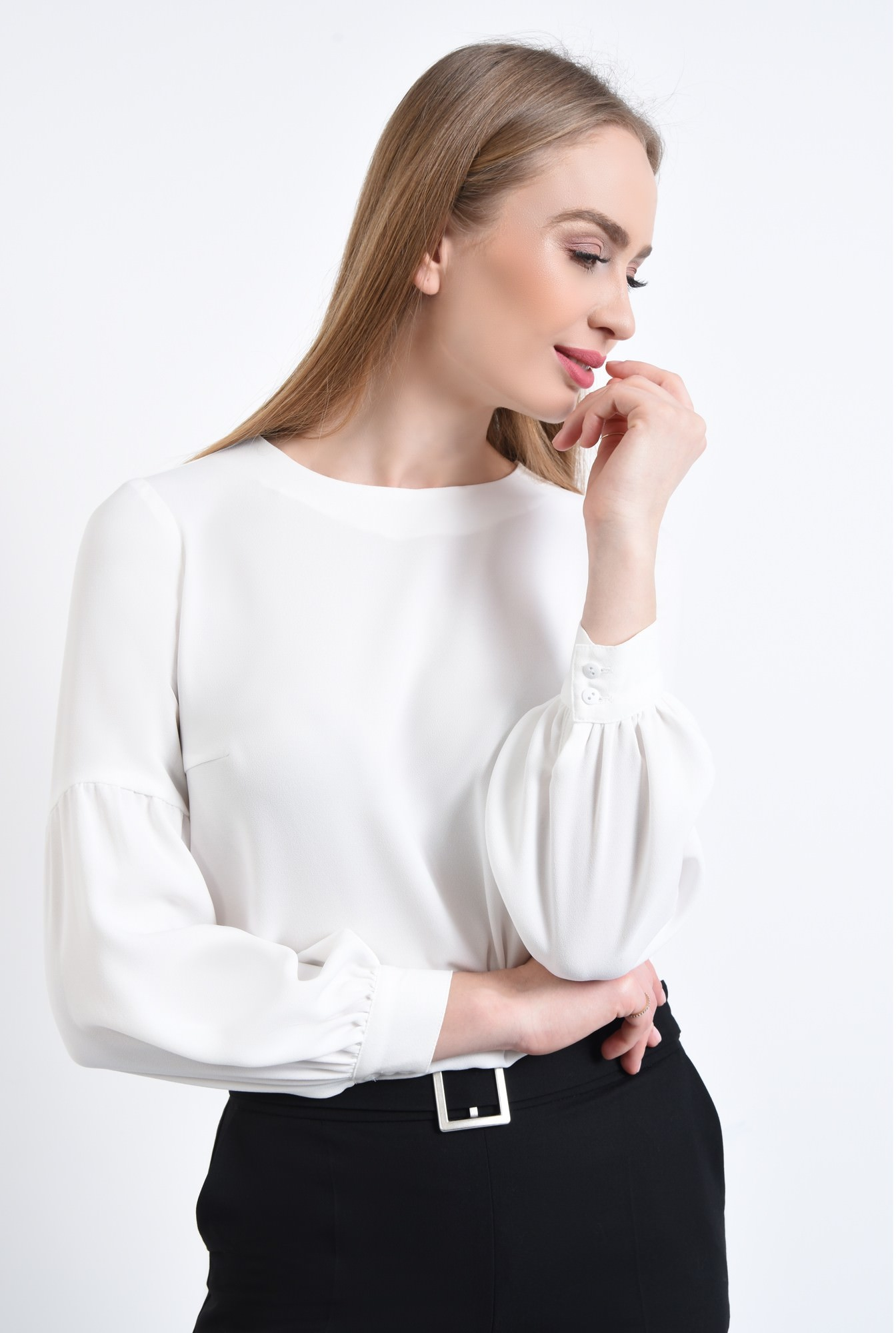 2 - Bluza casual, alb, maneci bufante