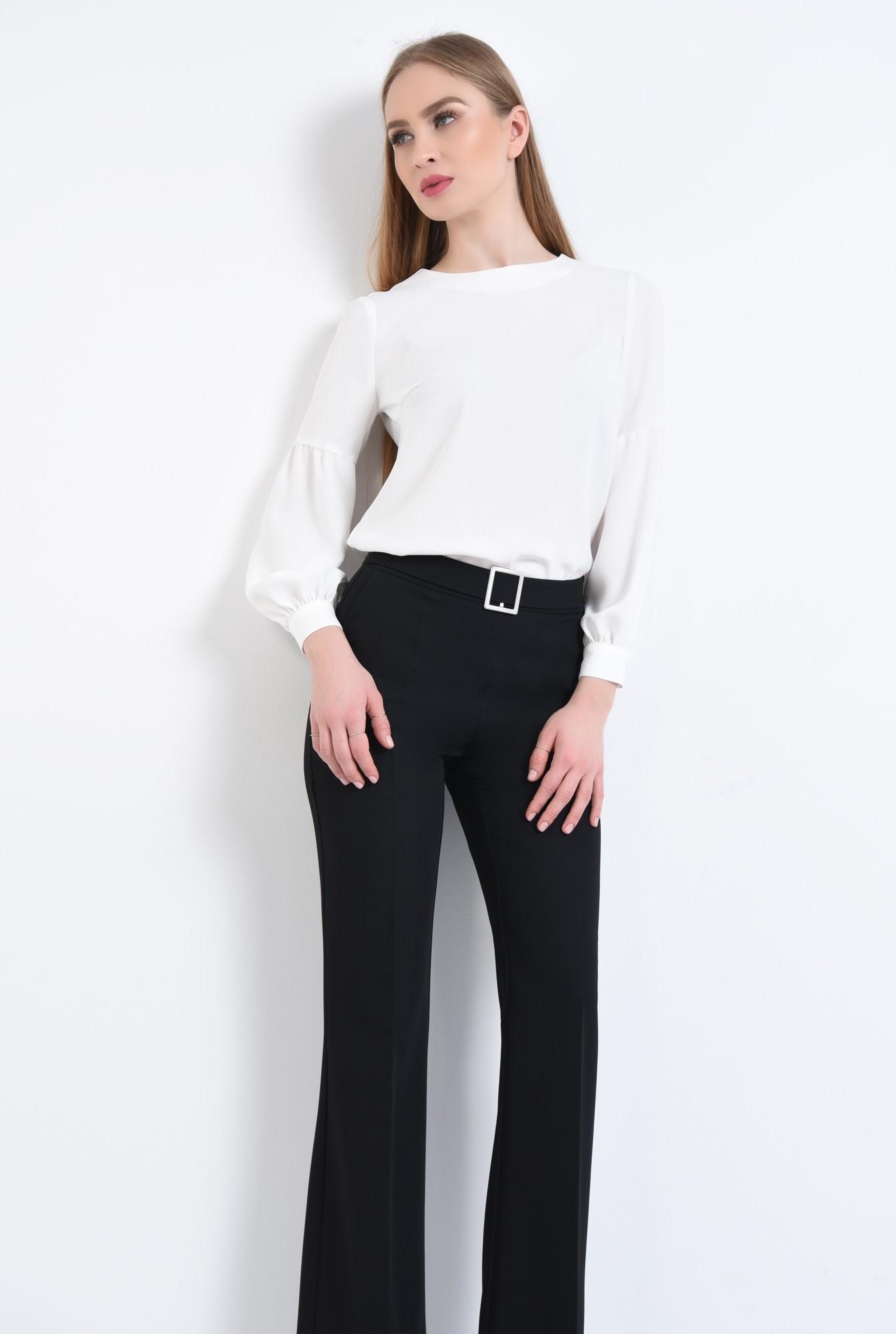 3 - Bluza casual, alb, maneci bufante