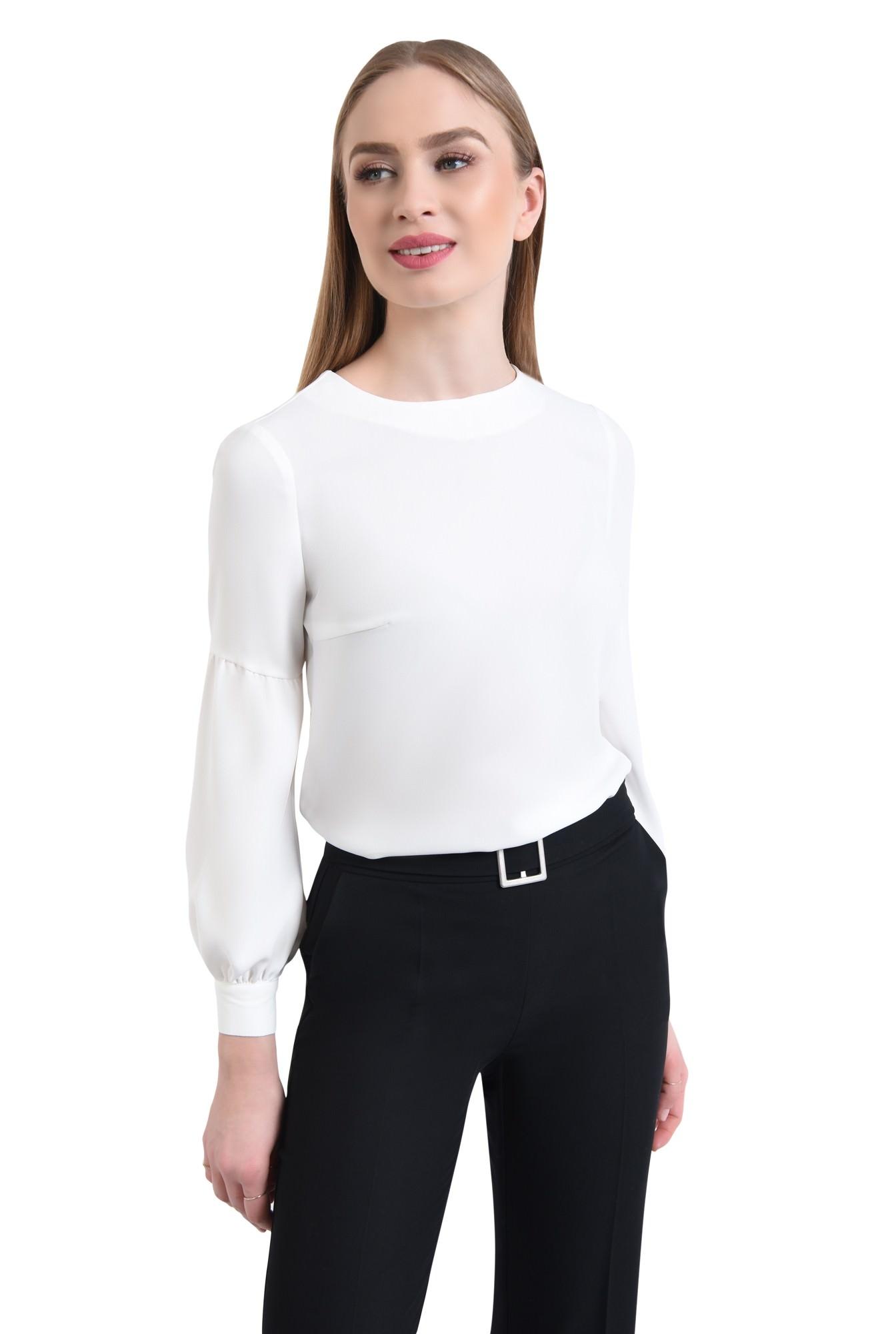 0 - Bluza casual, alb, maneci bufante