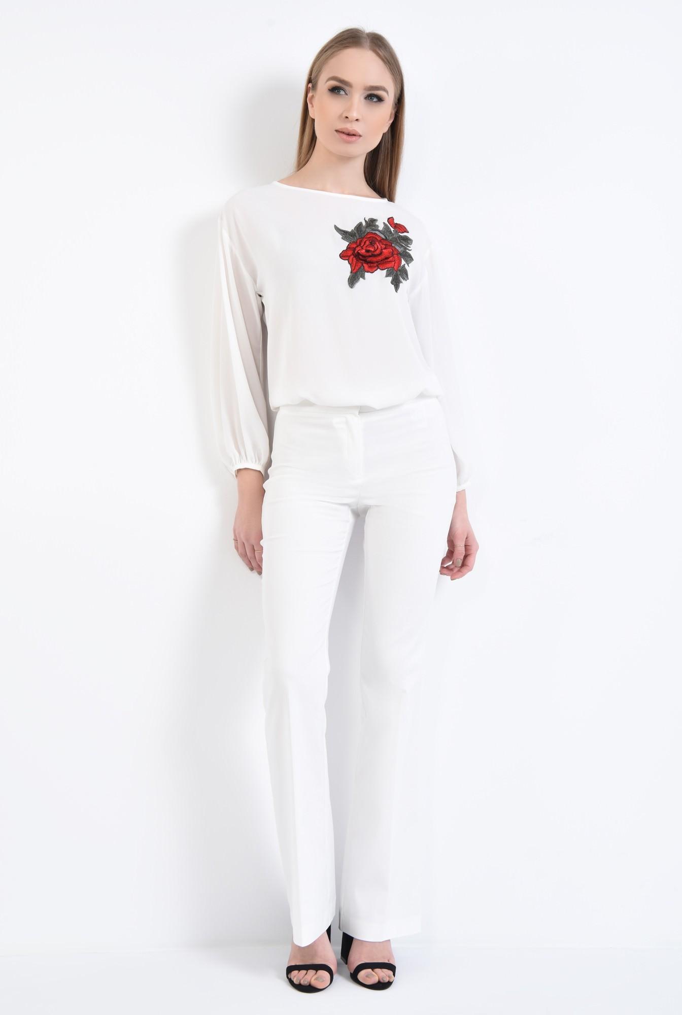 3 - Bluza casual, alb, maneci lungi