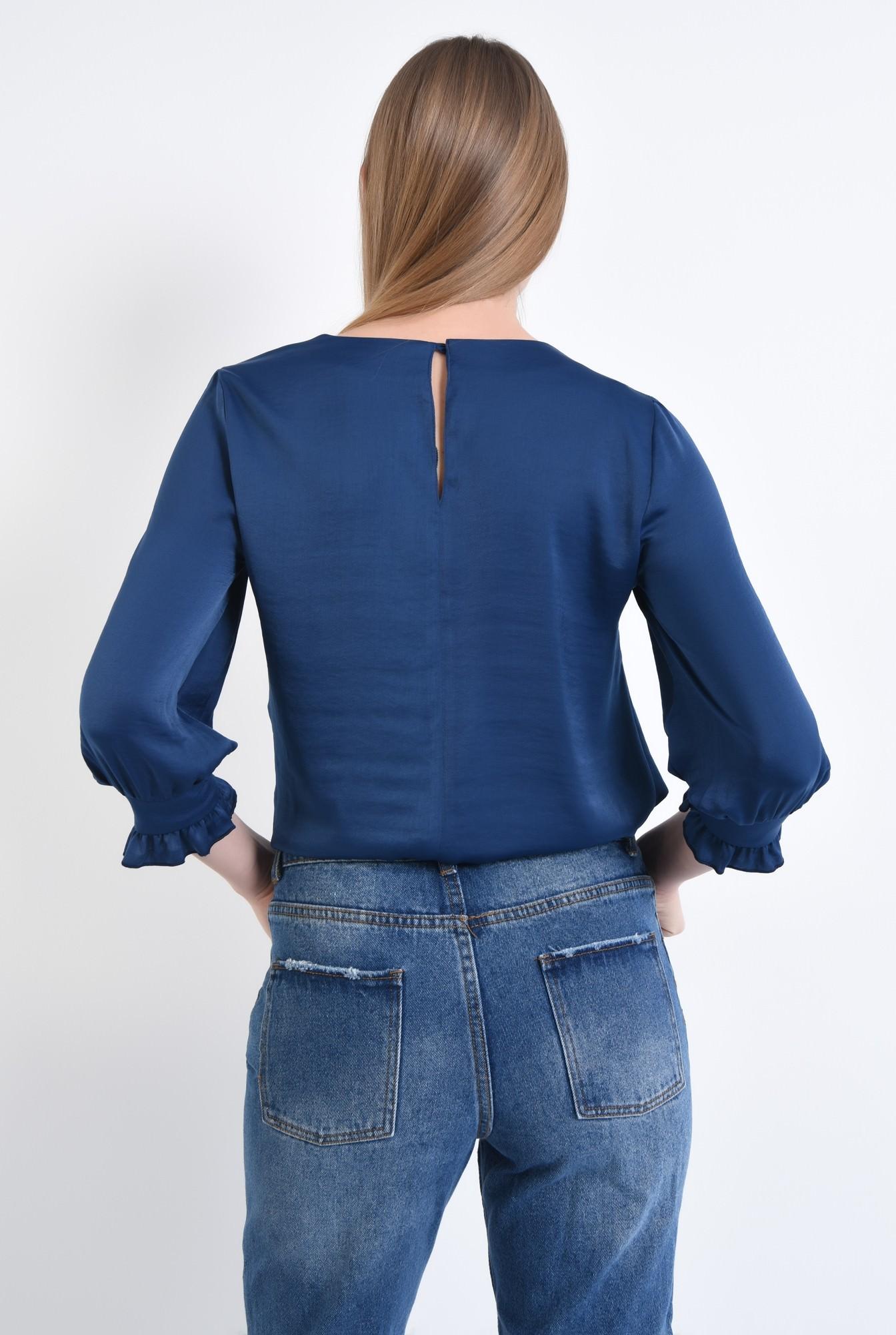 1 - Bluza casual, bleumarin, maneci bufante