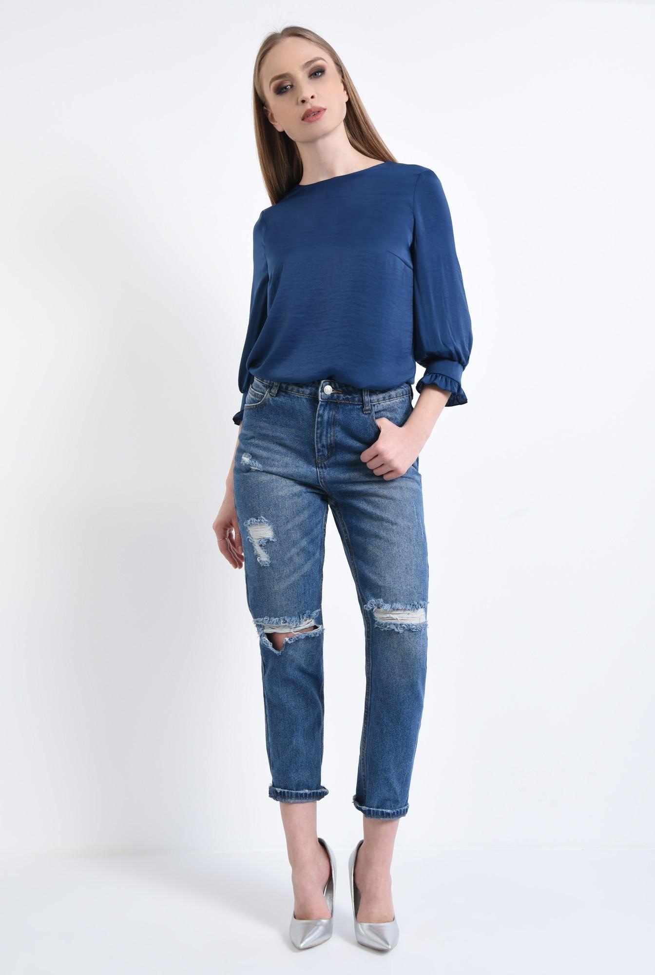 3 - Bluza casual, bleumarin, maneci bufante