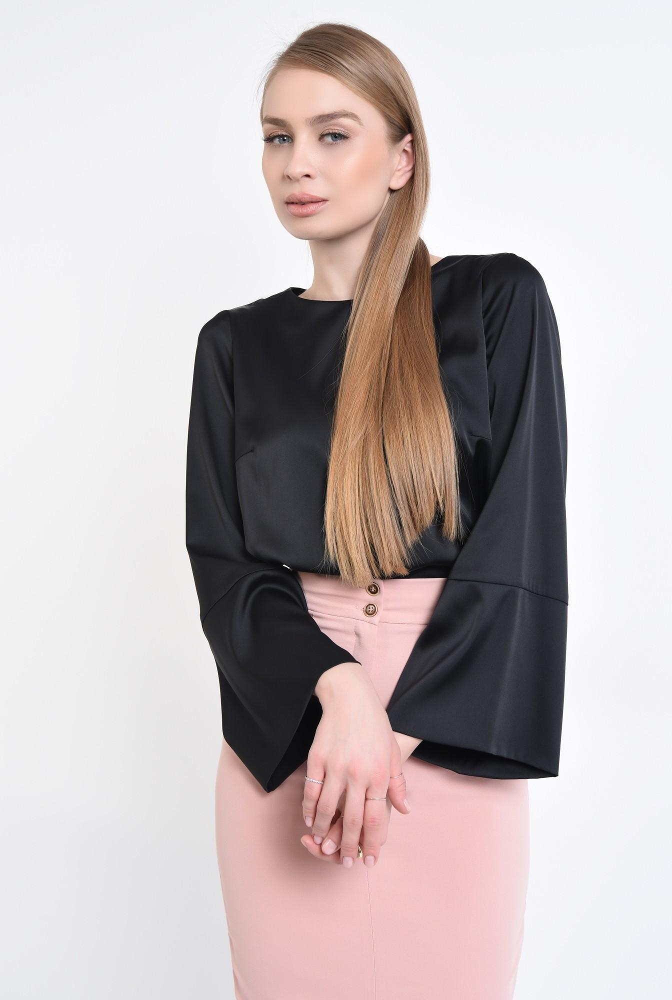 2 - 360 - Bluza casual neagra, mansete, decolteu rotund