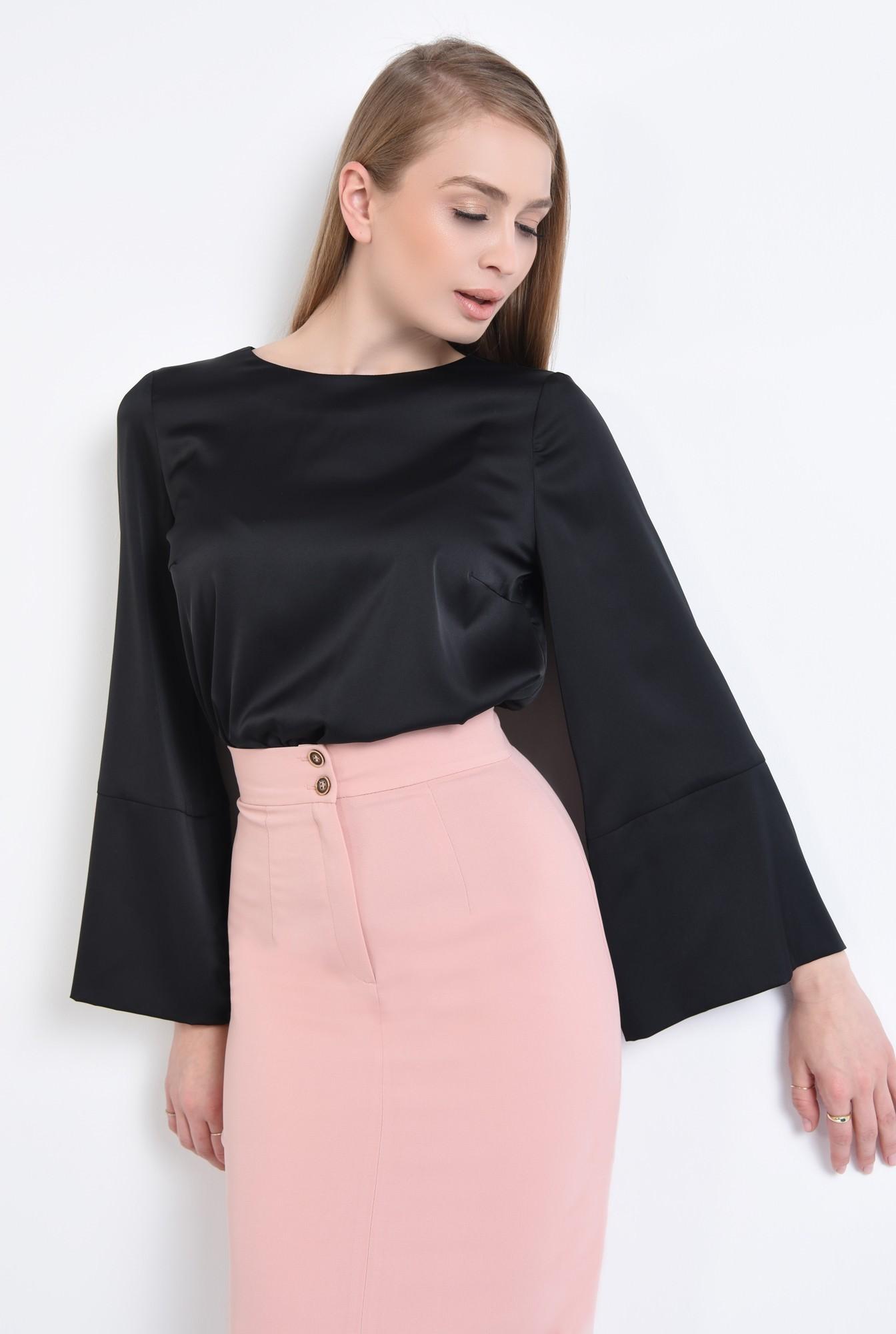0 - 360 - Bluza casual neagra, mansete, decolteu rotund