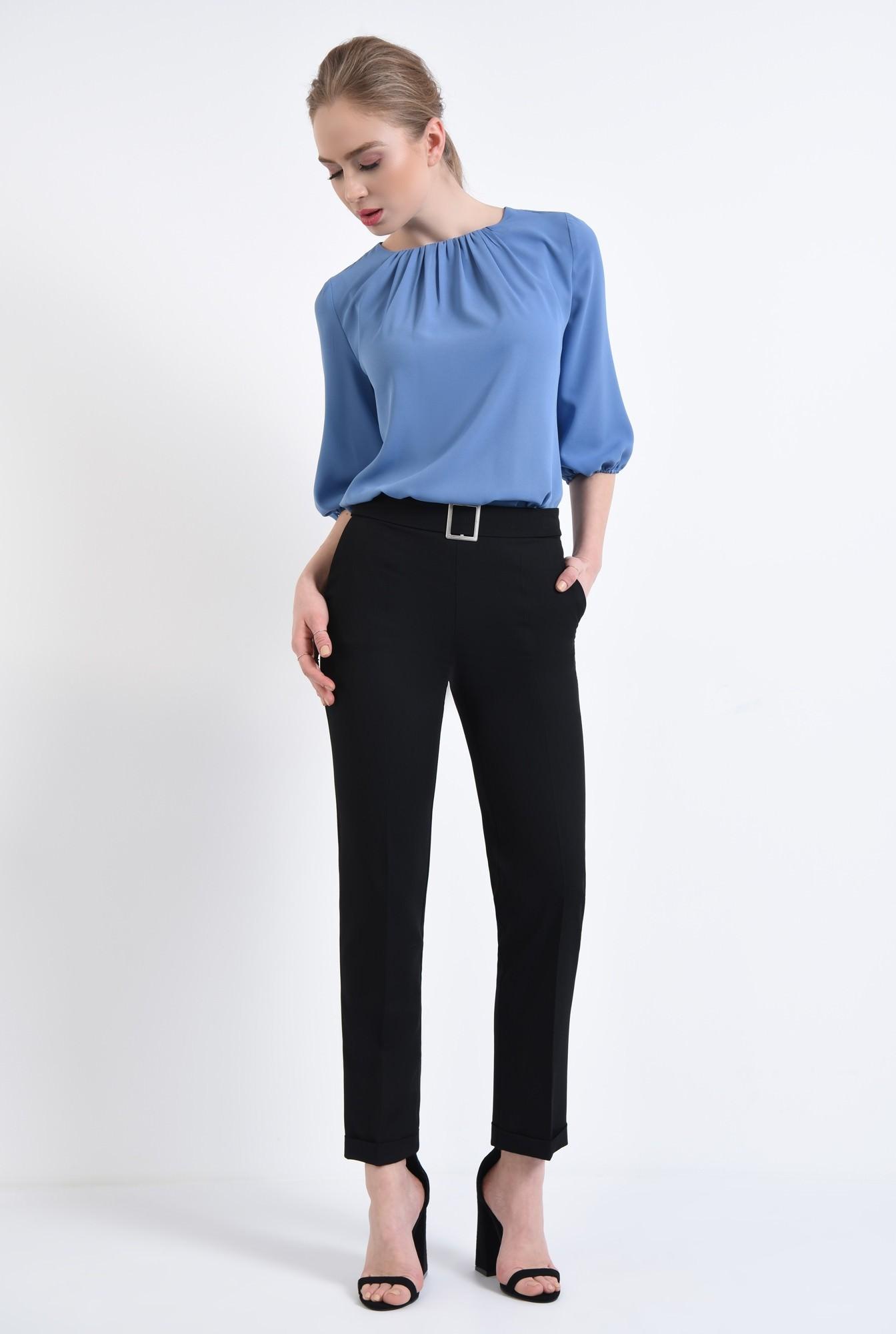 3 - Bluza casual, bleu, decolteu rotund