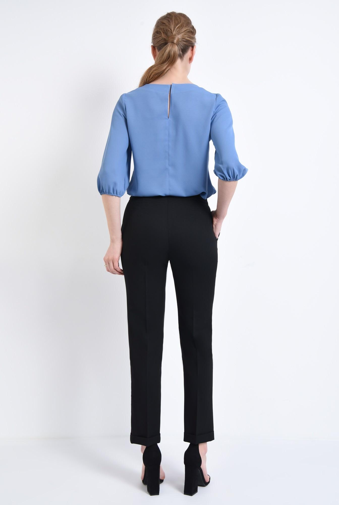2 - Bluza casual, bleu, decolteu rotund