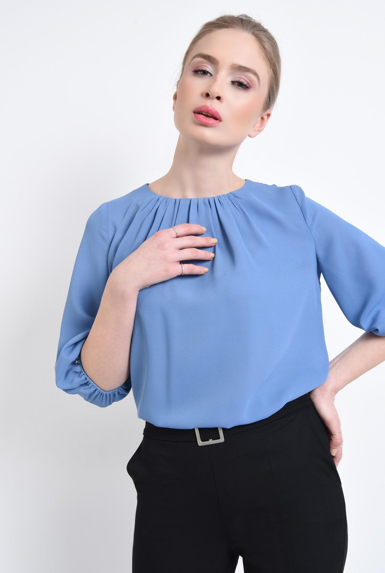 1 - Bluza casual, bleu, decolteu rotund