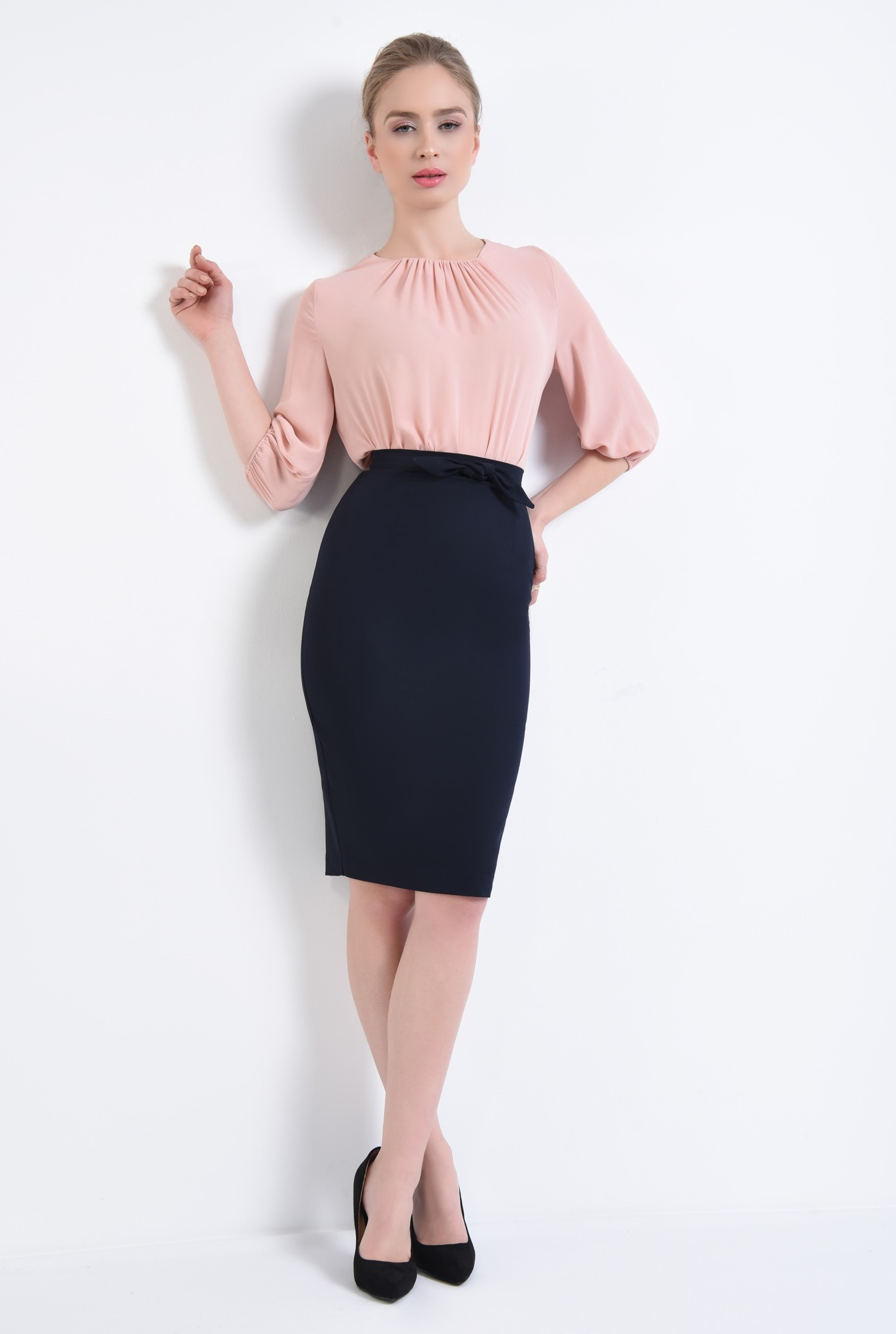 3 - Bluza casual, roz, pliseuri