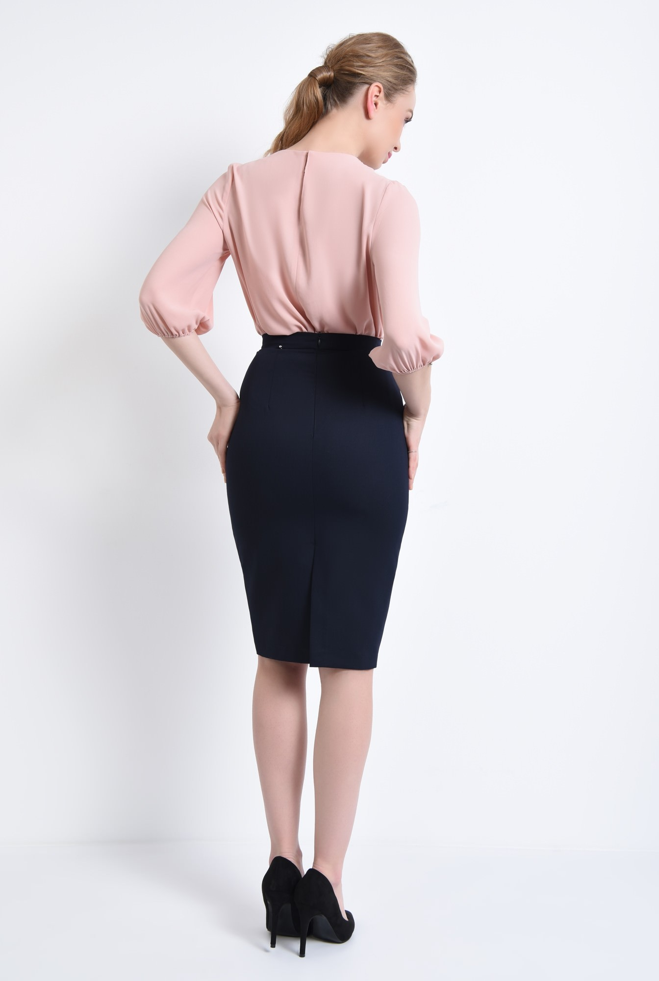 1 - Bluza casual, roz, pliseuri