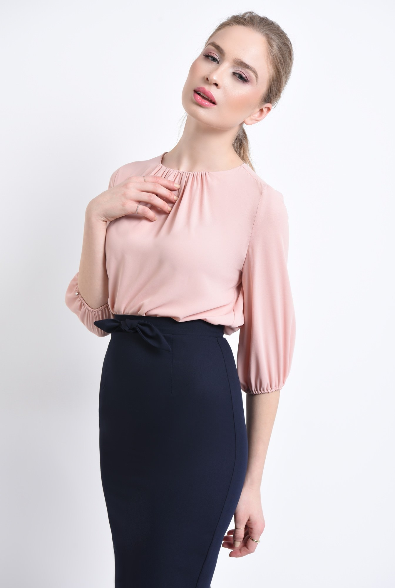 2 - Bluza casual, roz, pliseuri
