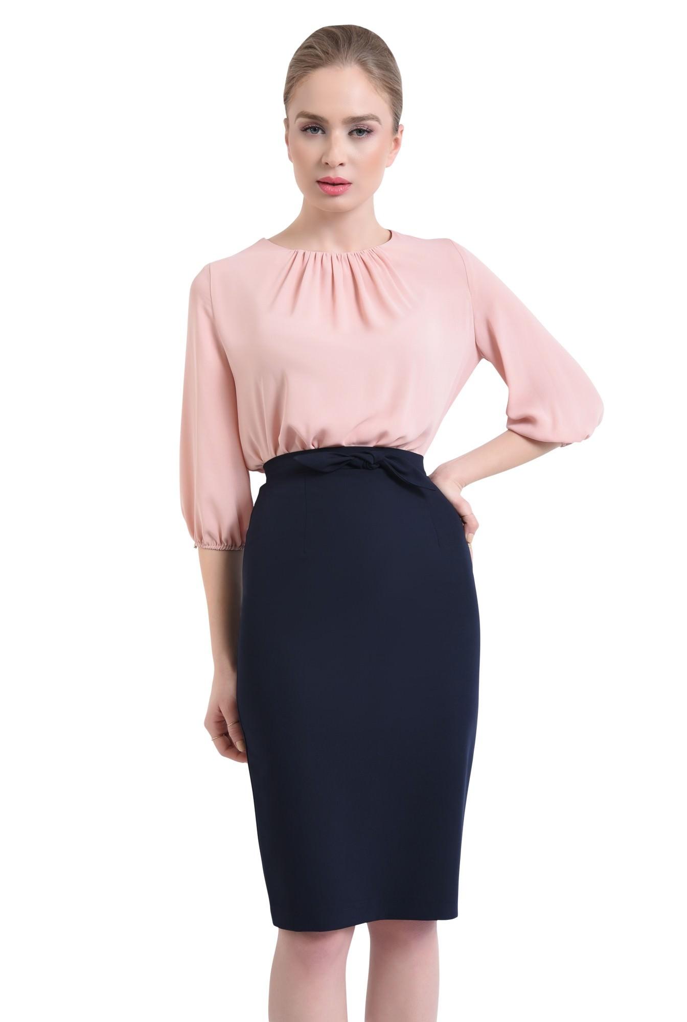 0 - Bluza casual, roz, pliseuri