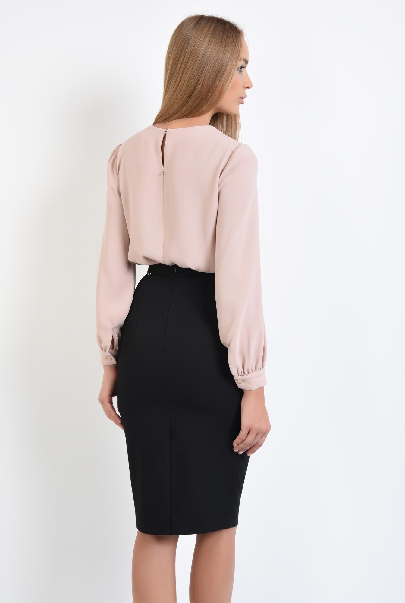 1 - bluza casual, bej, crep, maneci bufante, bluze online