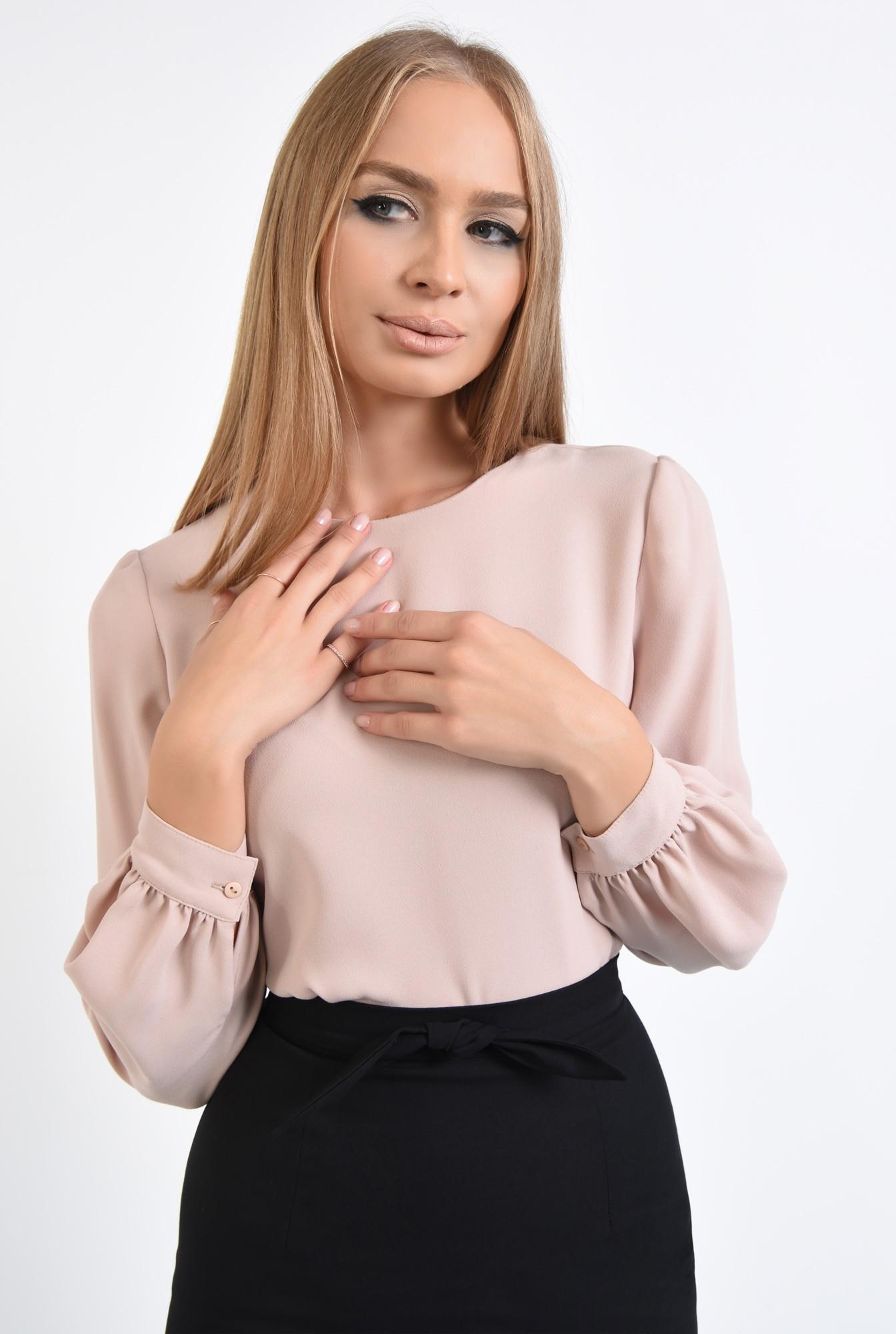 2 - bluza casual, bej, crep, maneci bufante, bluze online
