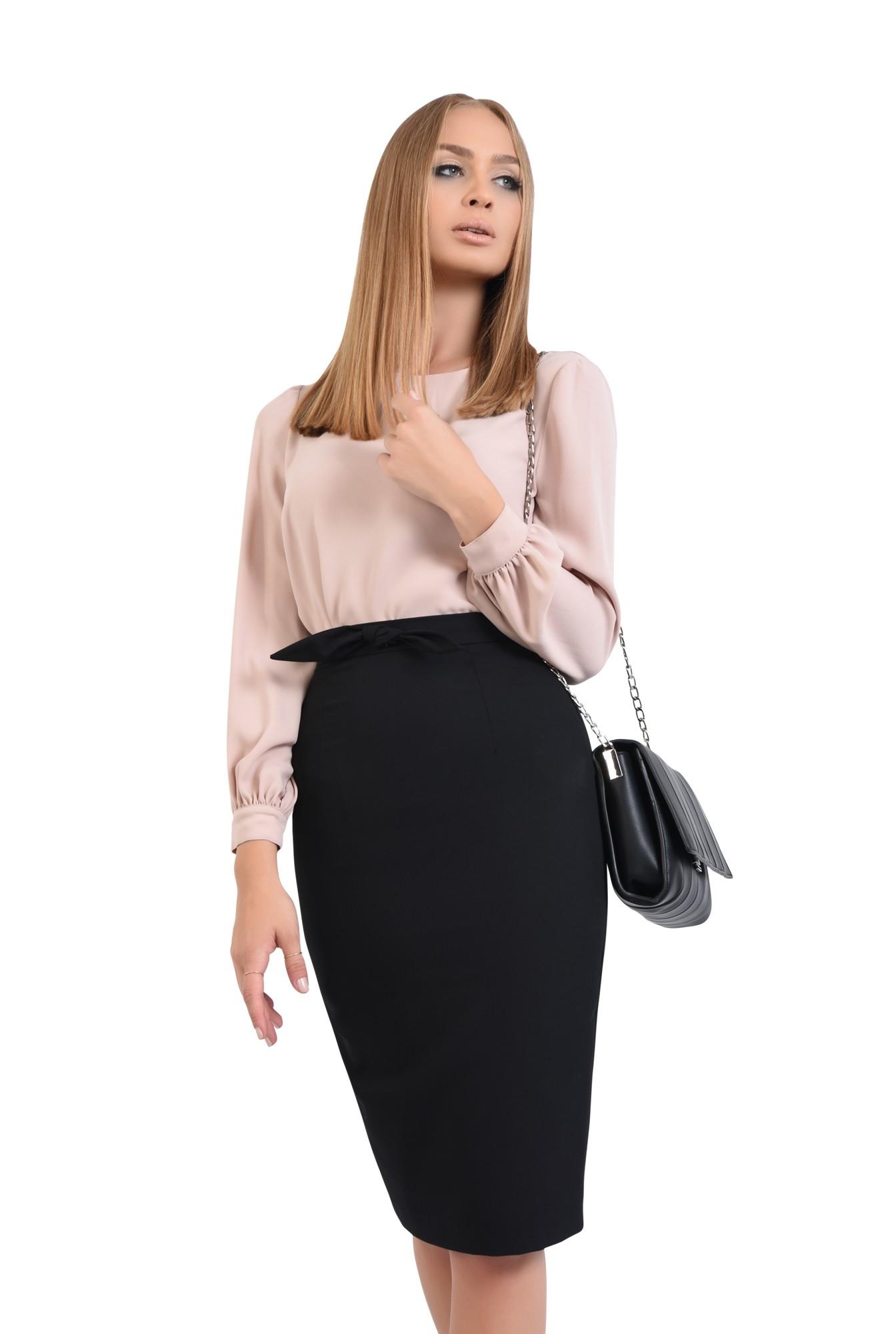 0 - bluza casual, bej, crep, maneci bufante, bluze online