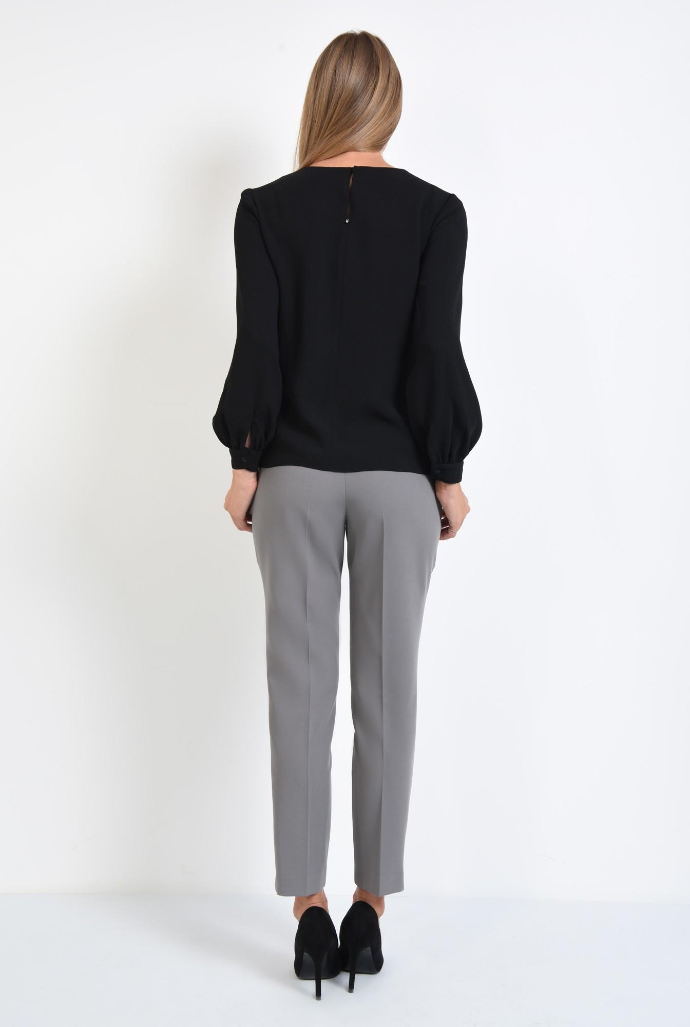1 - 360 - bluza casual neagra, maneci cu mansete, tesatura fluida