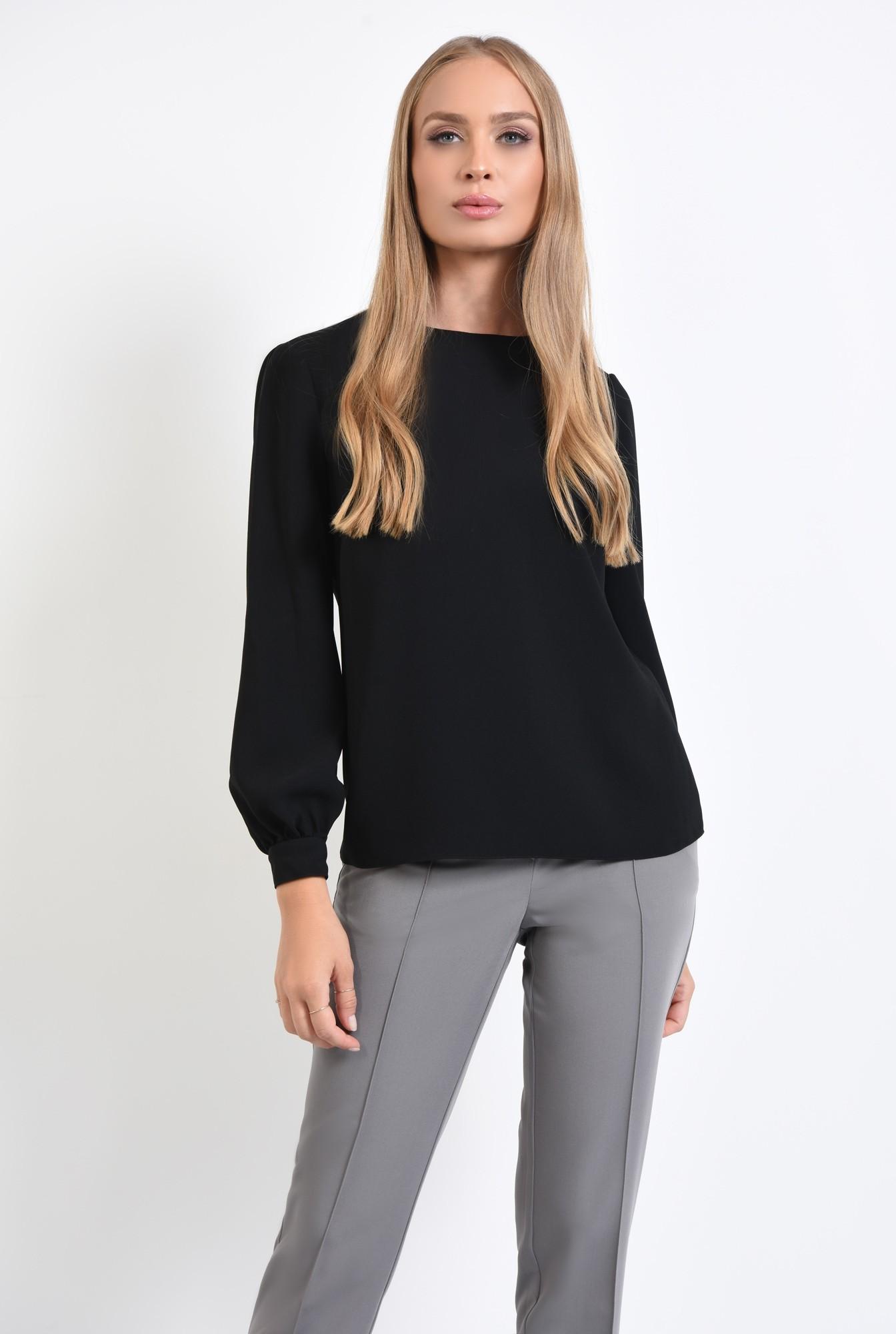 2 - 360 - bluza casual neagra, maneci cu mansete, tesatura fluida