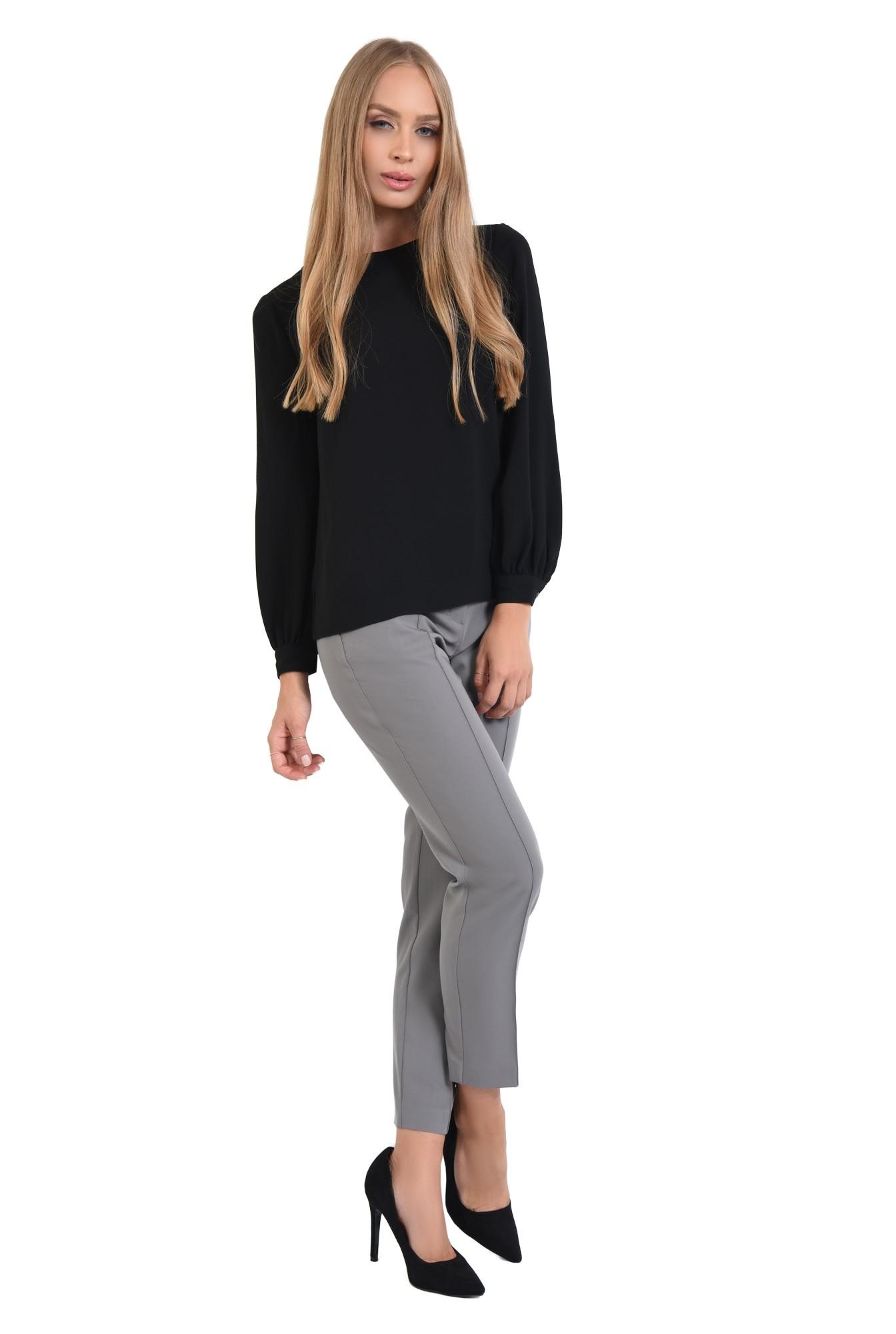 3 - 360 - bluza casual neagra, maneci cu mansete, tesatura fluida