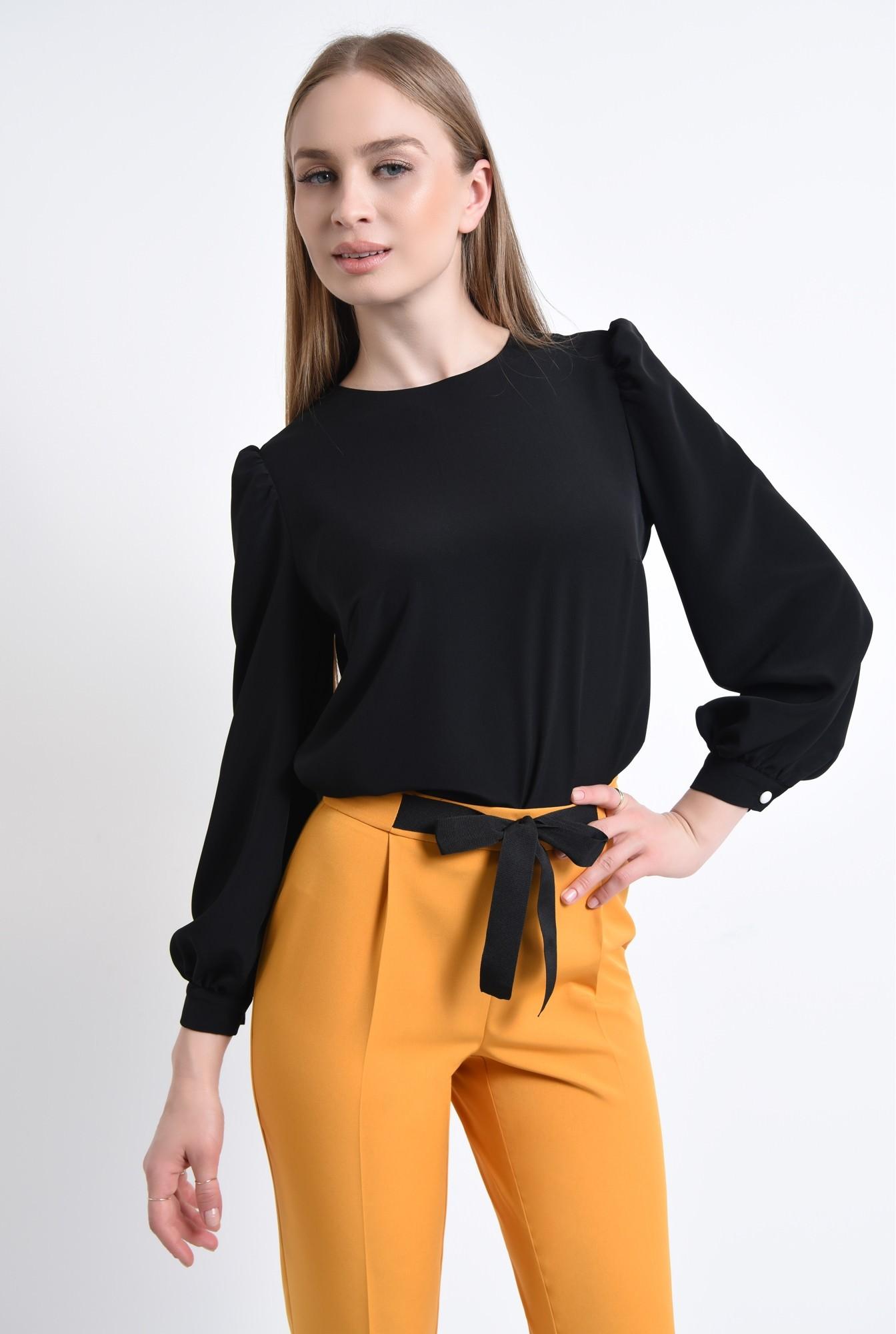 0 - 360 - Bluza casual neagra, decolteu rotund
