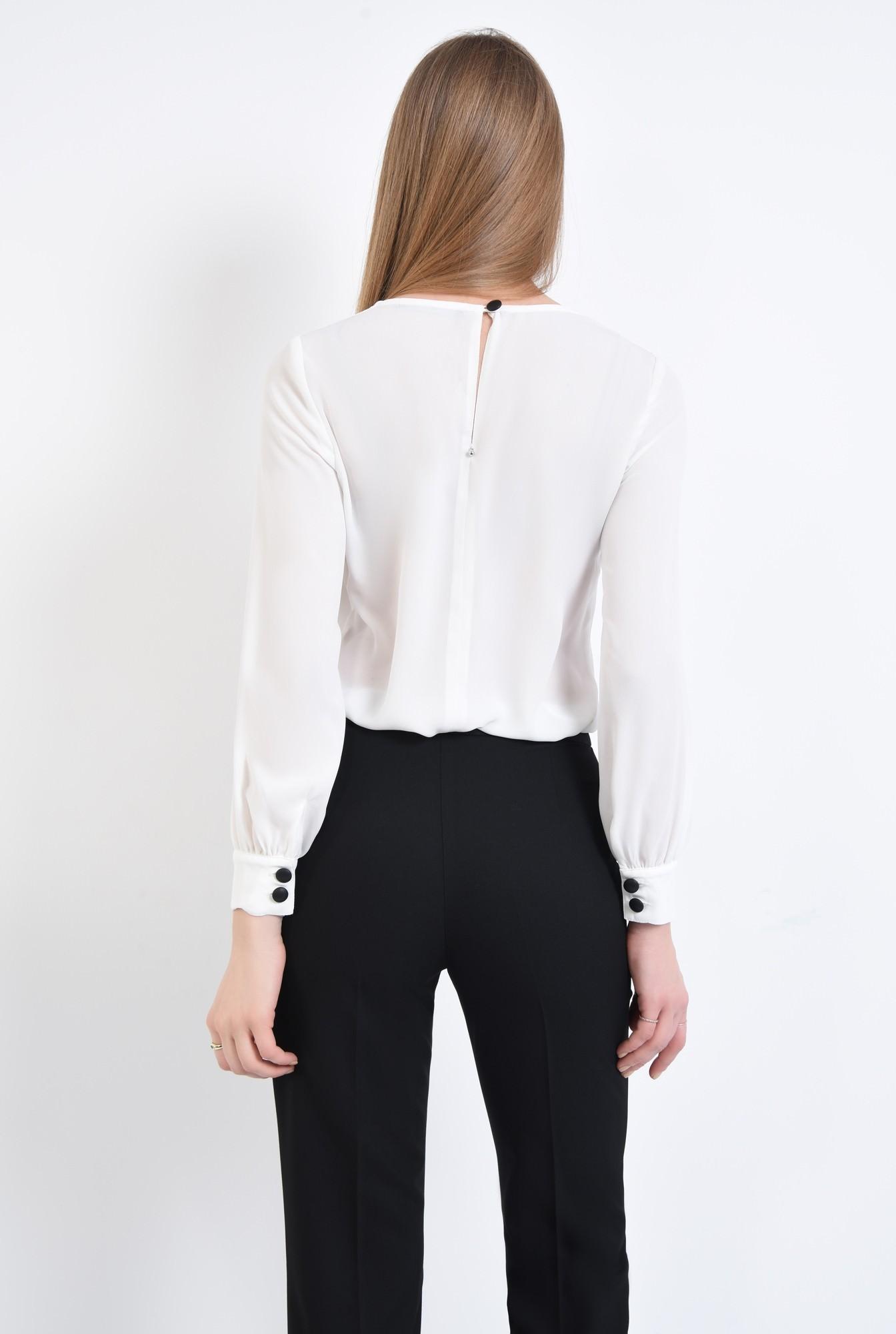 1 - Bluza casual, alb, maneci bufante