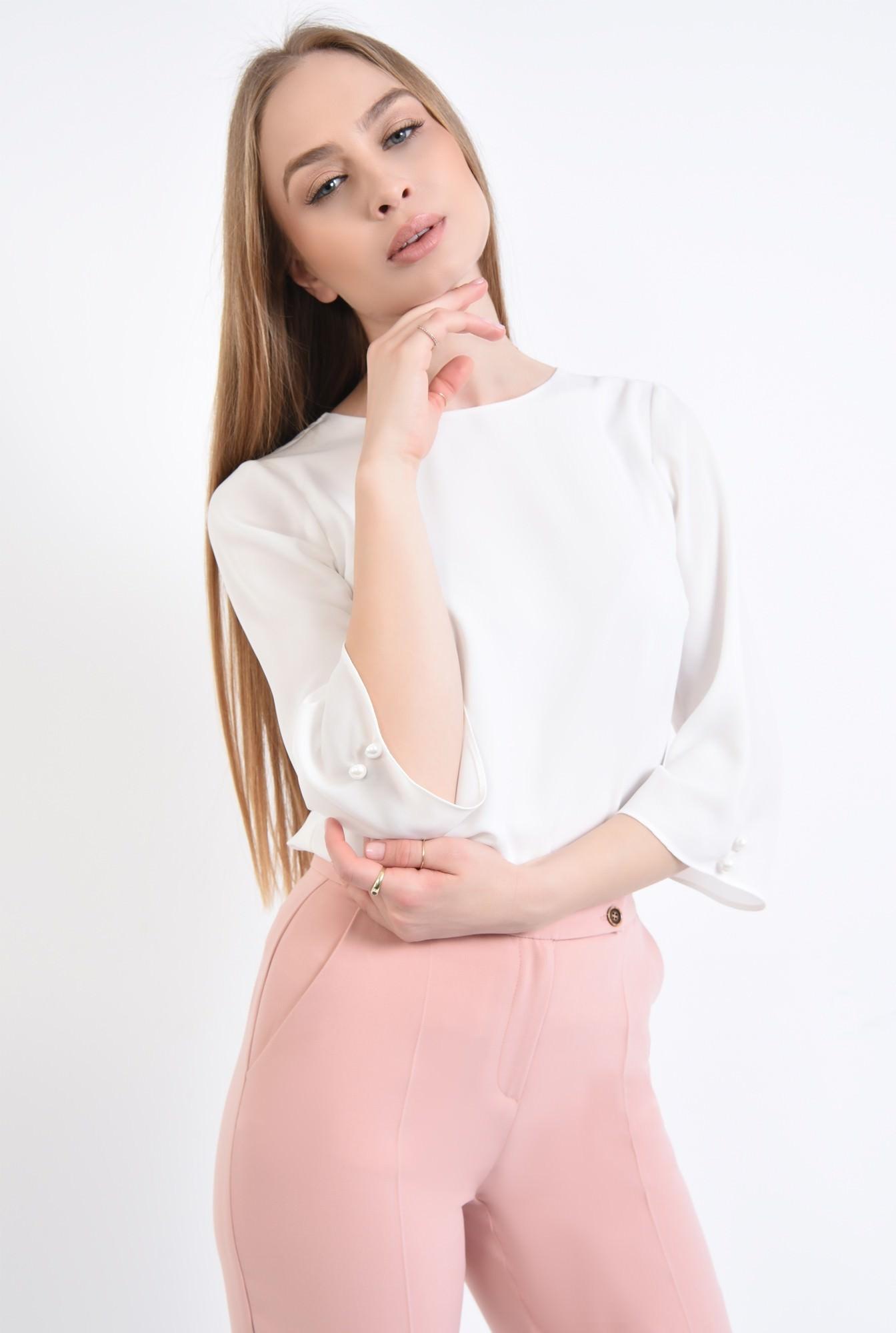 2 - Bluza casual, alb, nasturi decorativi