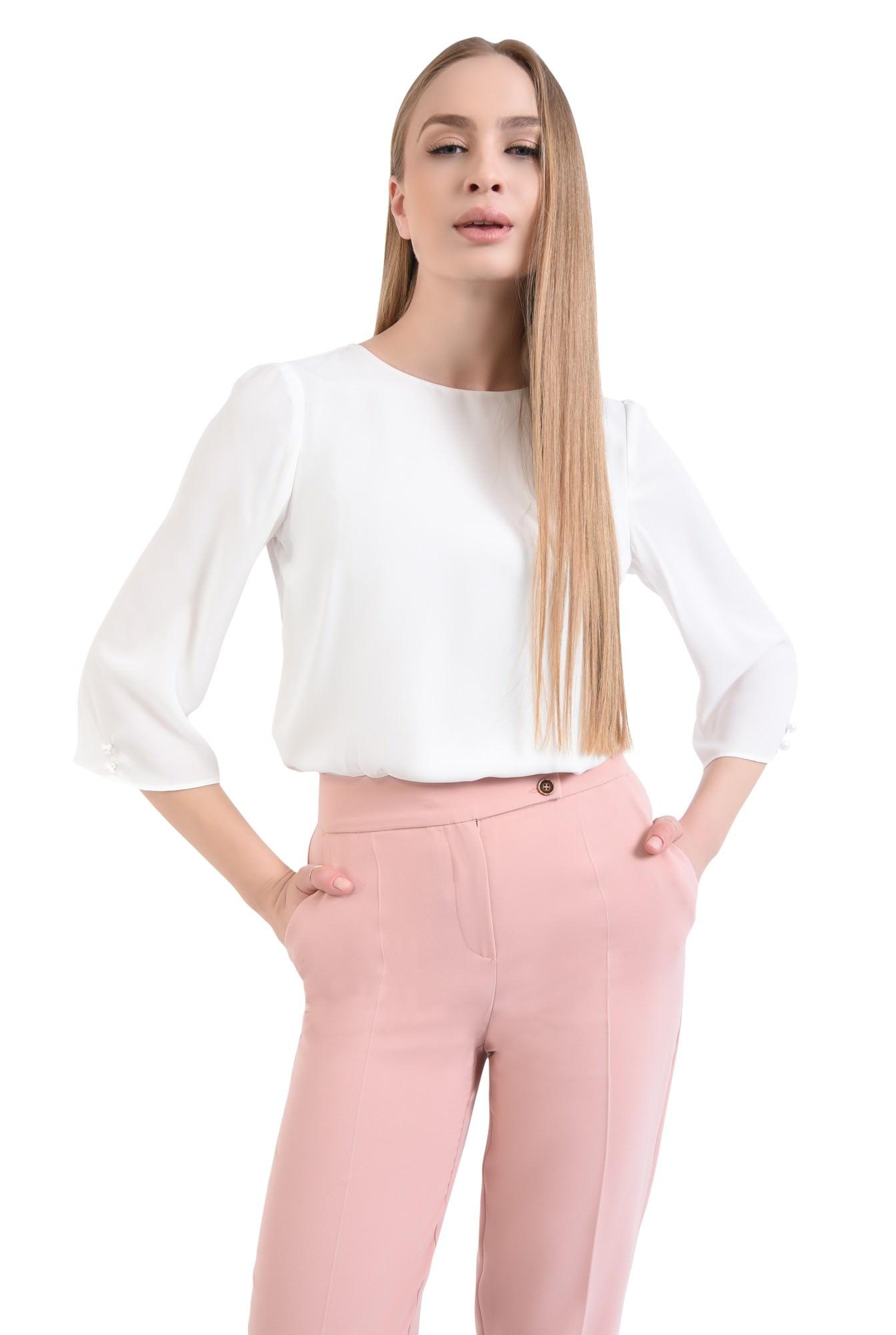 0 - Bluza casual, alb, nasturi decorativi