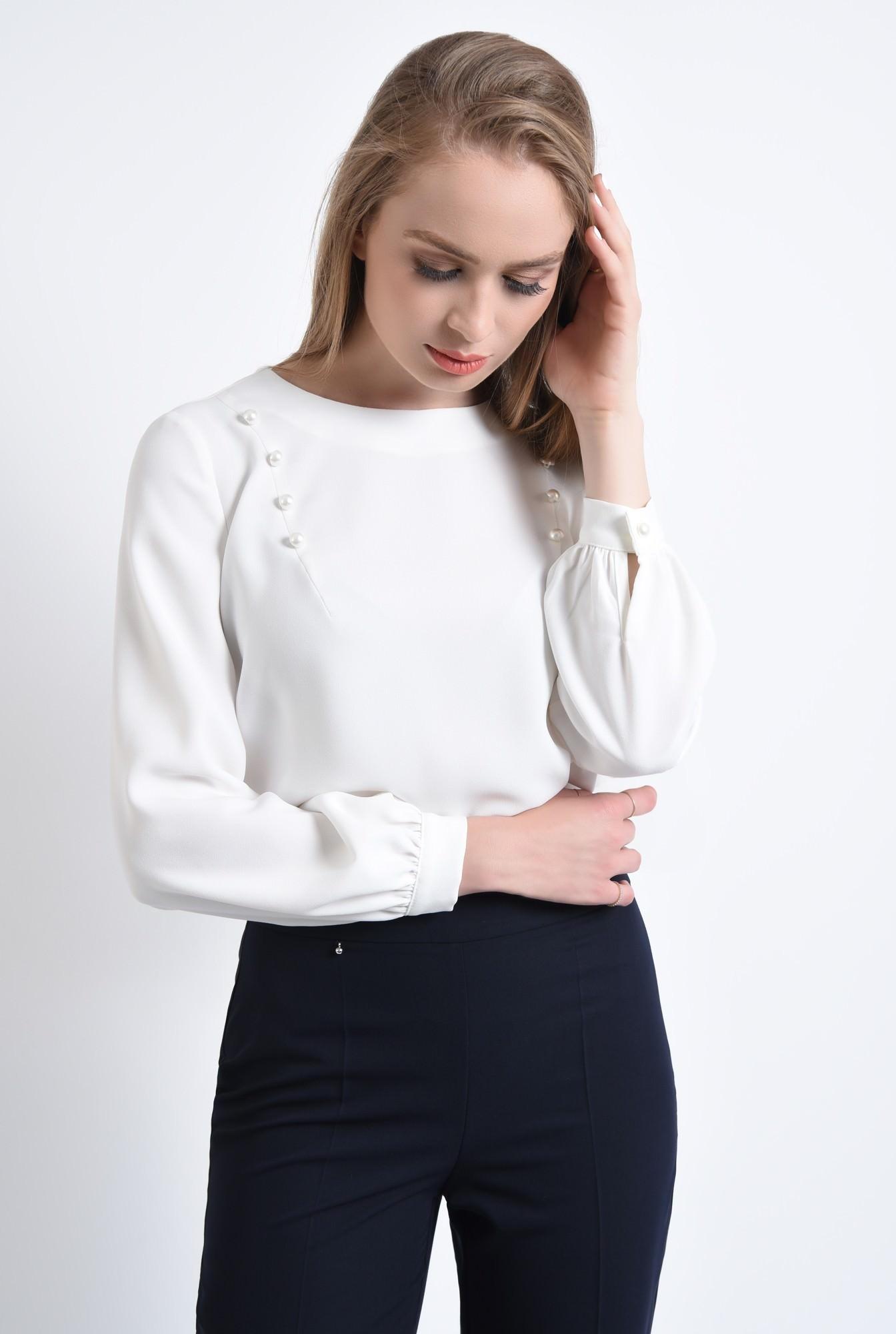 0 - 360 - Bluza eleganta, perle, maneci bufante