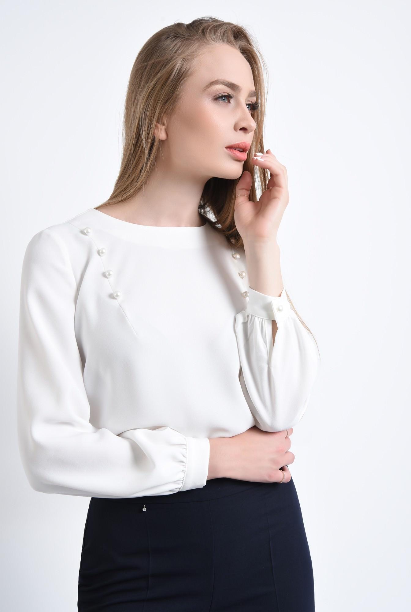 2 - 360 - Bluza eleganta, perle, maneci bufante