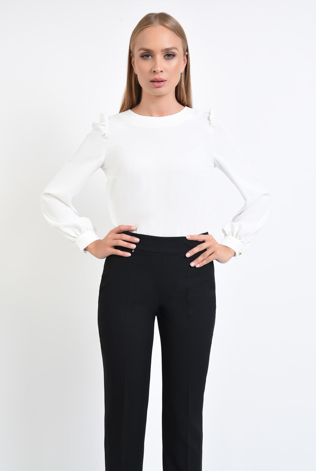 0 - 360 - bluza lejera, croi drept, maneci bufante, spate babydoll, pliuri, bluze online