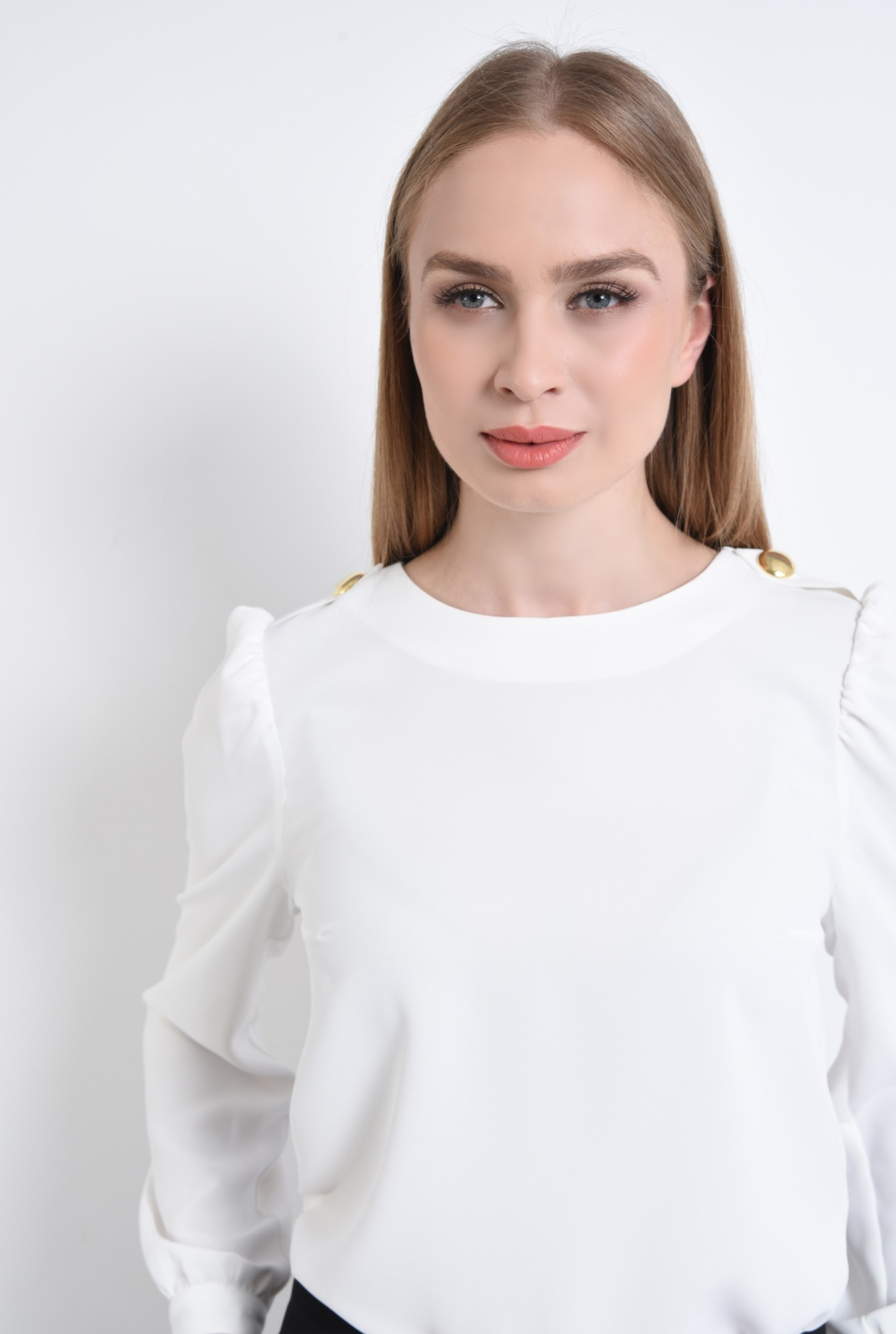 2 - bluza casual, dreapta, crep, epoleti, nasturi decorativi