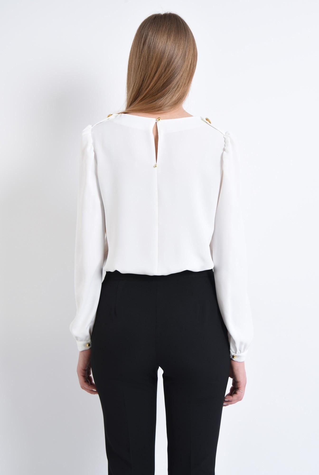 1 - bluza casual, dreapta, crep, epoleti, nasturi decorativi