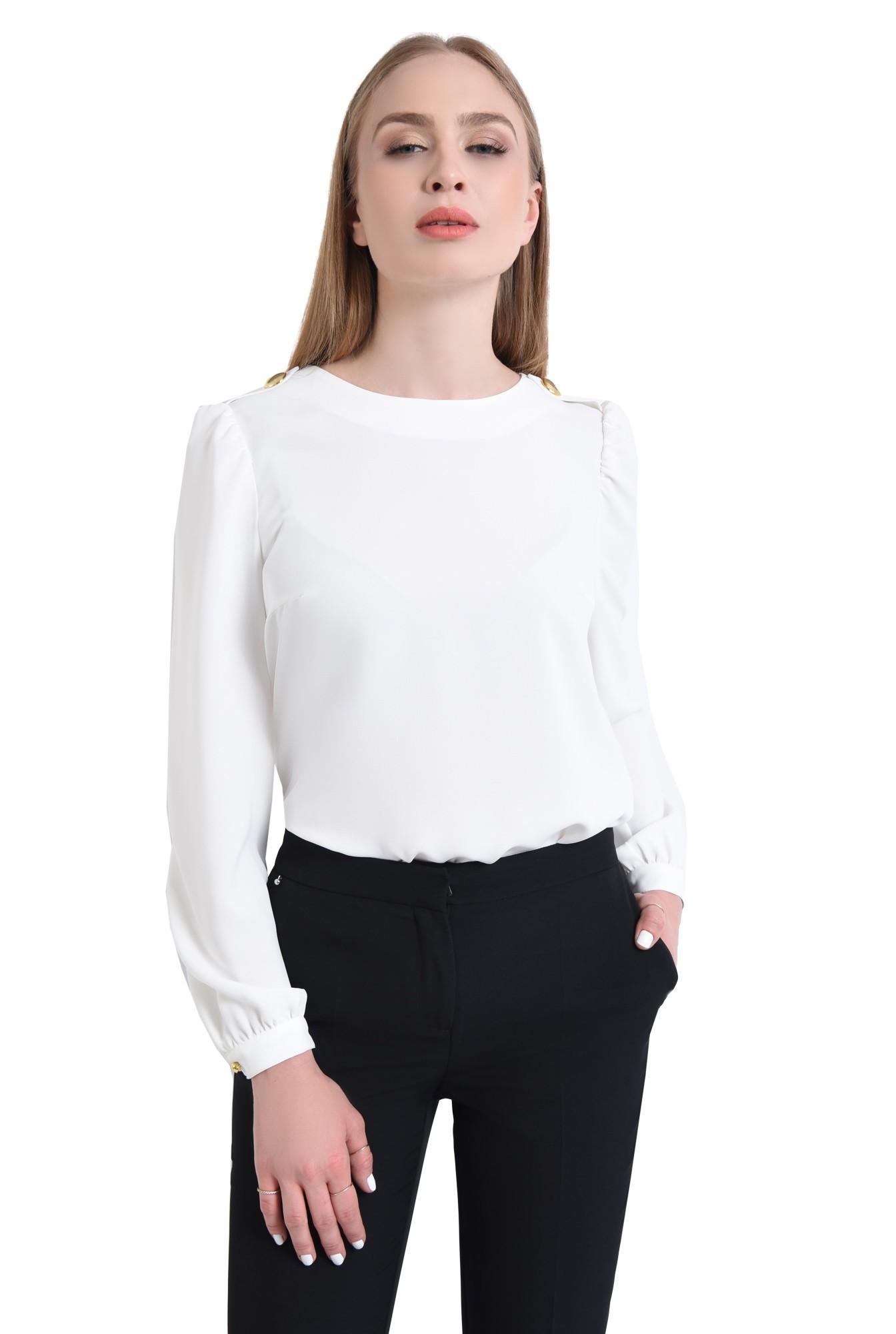 0 - bluza casual, dreapta, crep, epoleti, nasturi decorativi