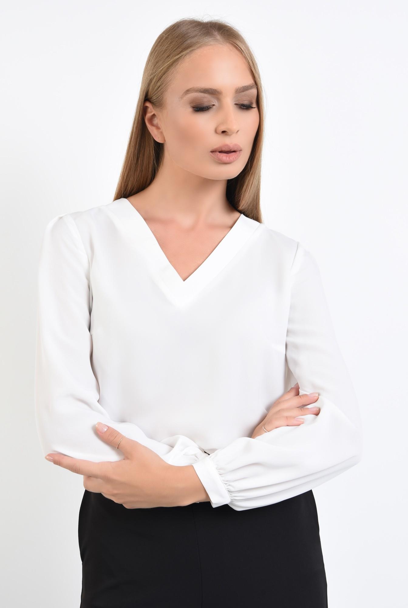 2 - bluze online, alb, decolteu in V, maneci bufante, mansete