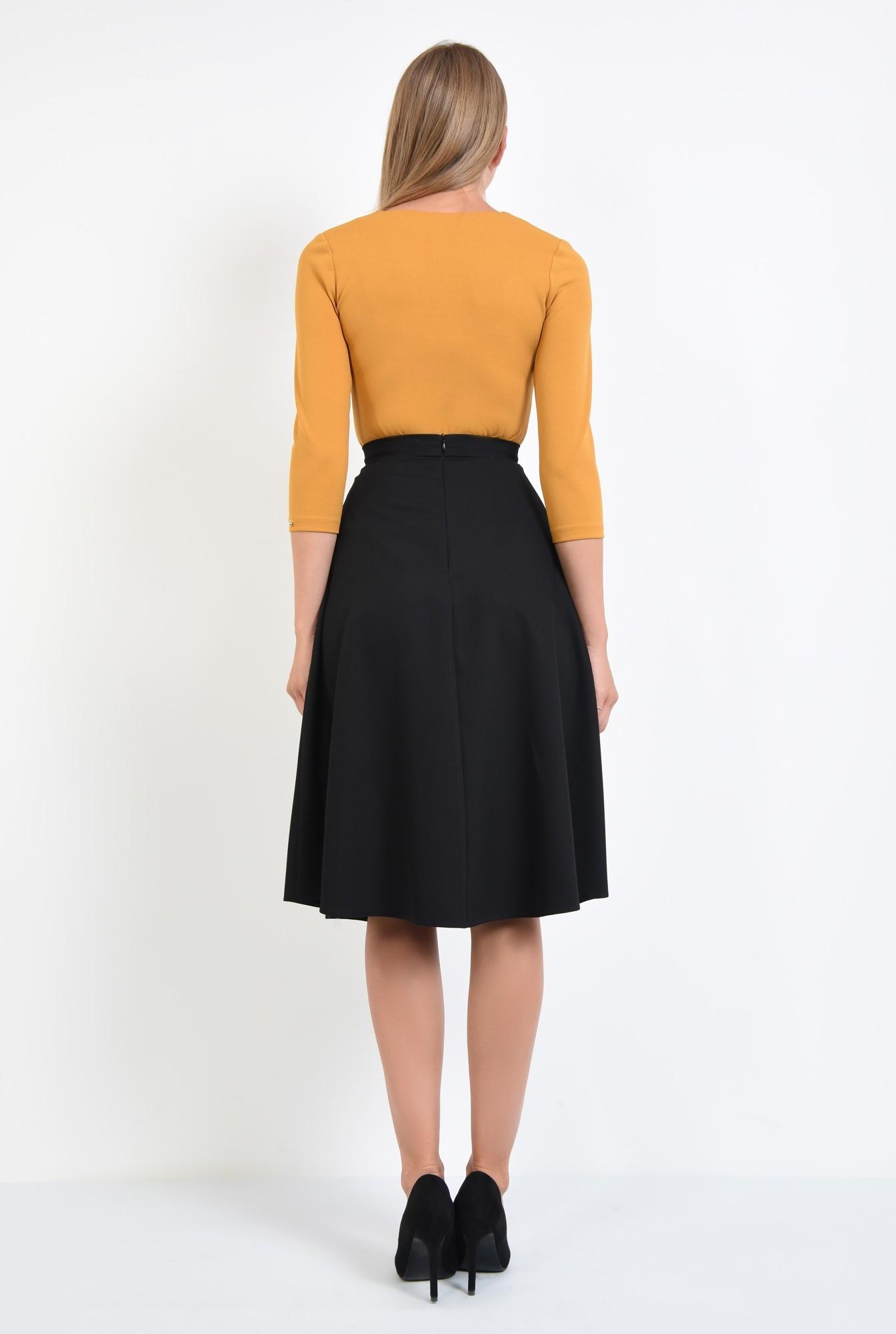1 - 360 - bluza casual mustar, decoltata, croi drept, anchior, tesatura elastica