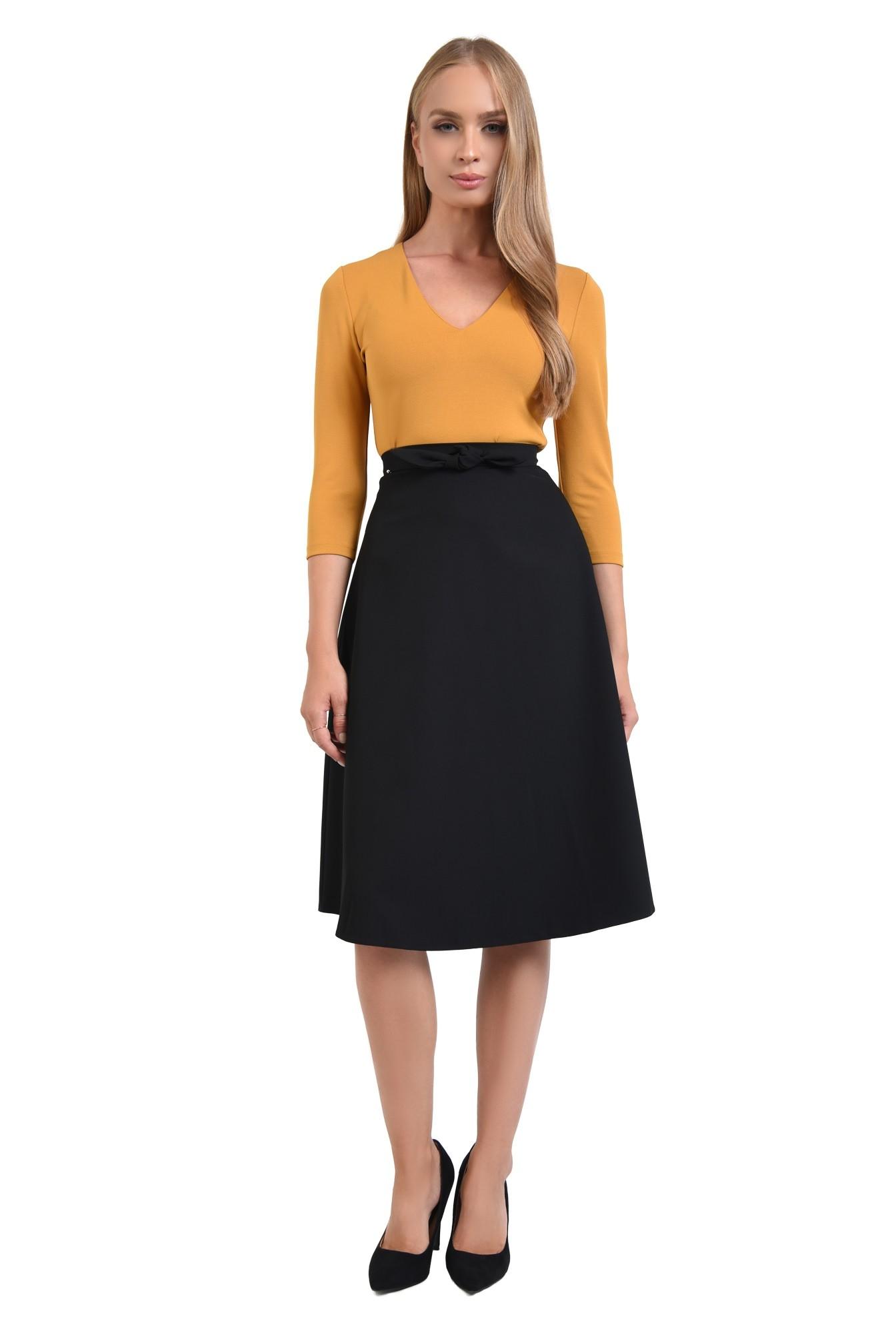 3 - 360 - bluza casual mustar, decoltata, croi drept, anchior, tesatura elastica